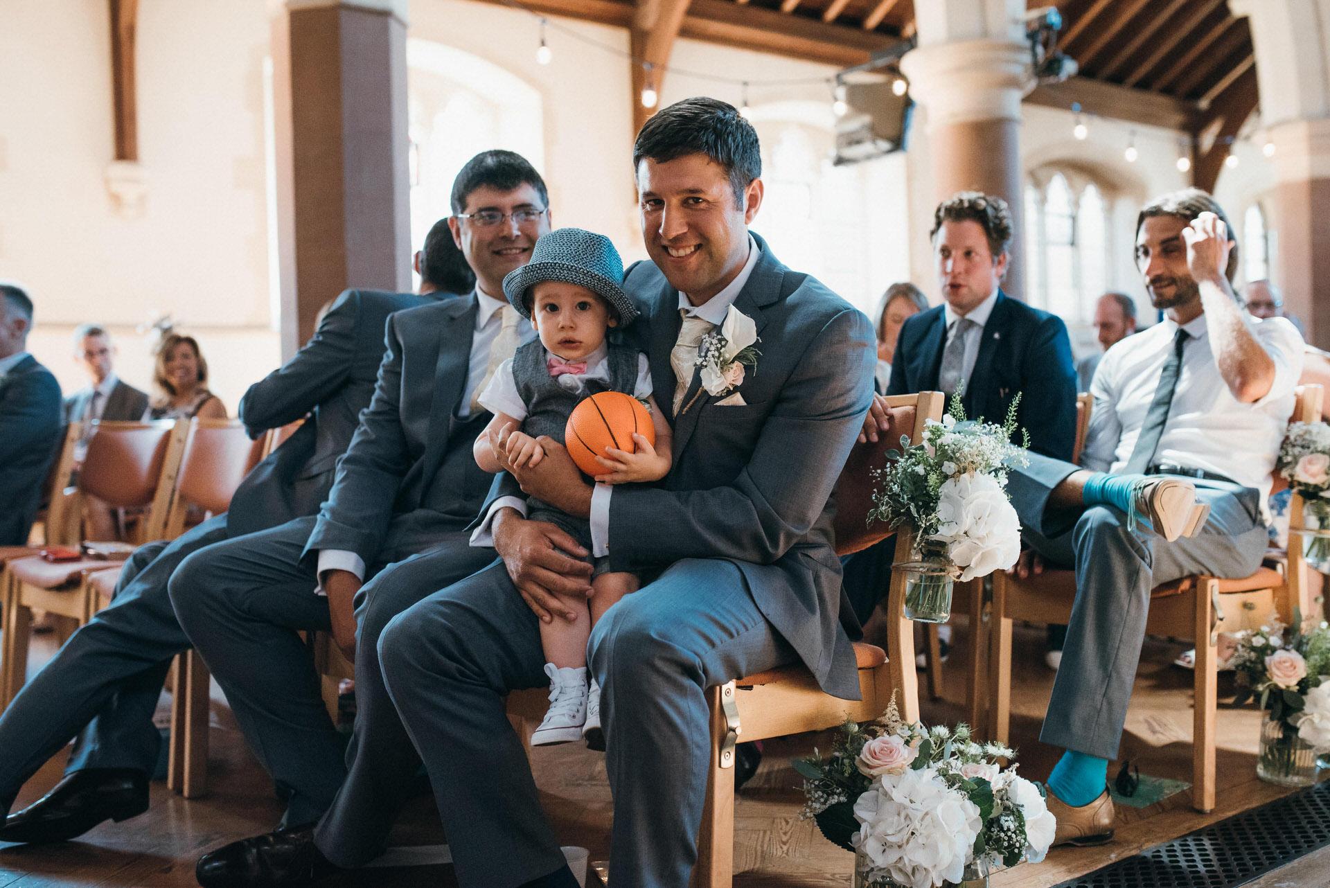 groom waits in church
