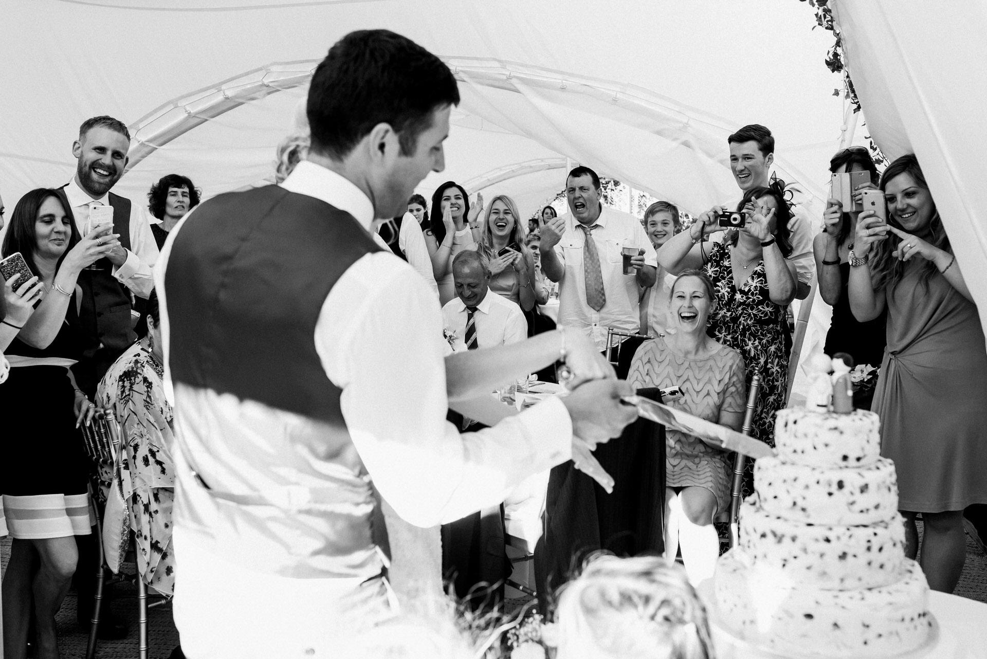 cake cut wedding reception