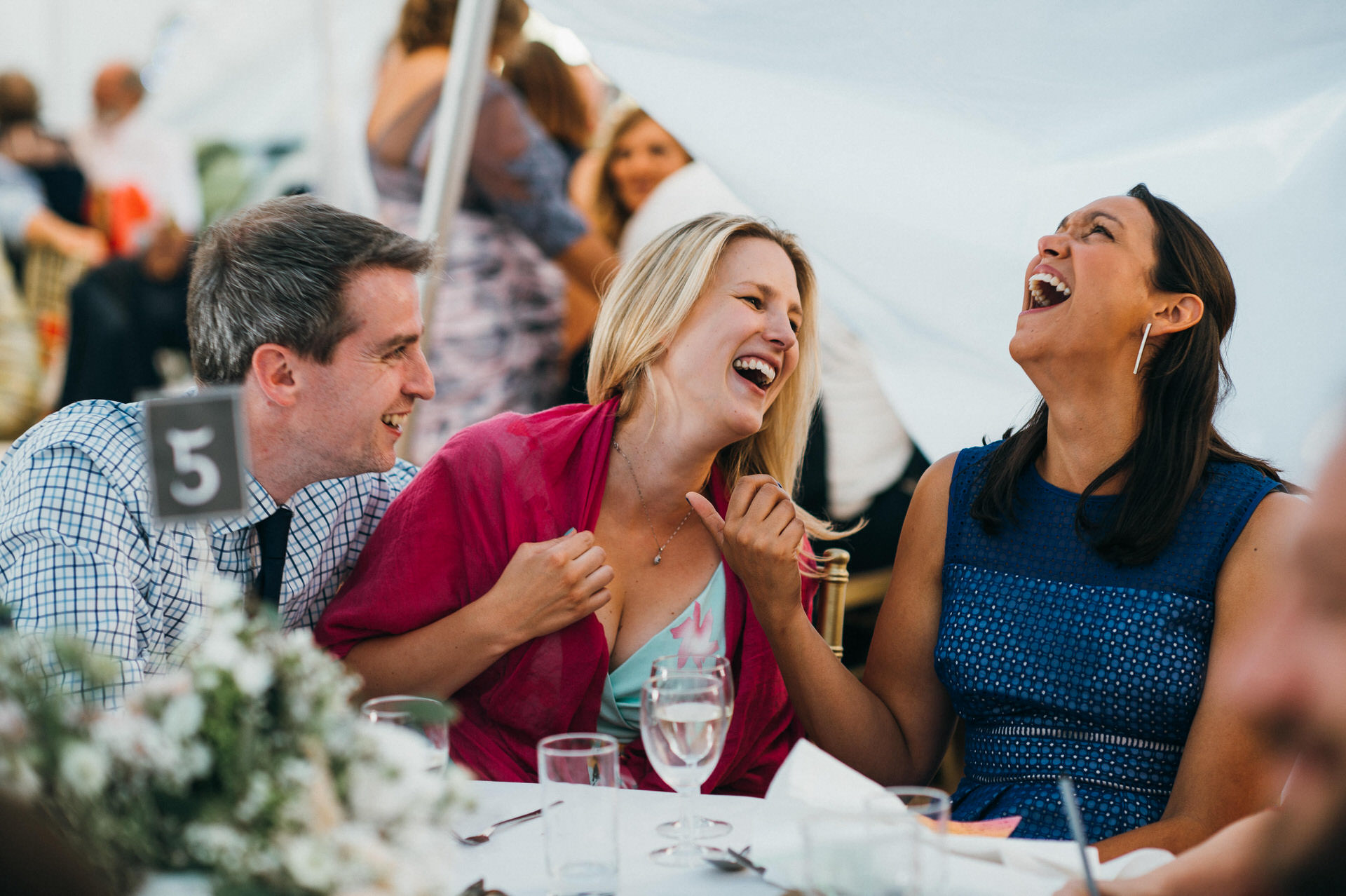 RHS Wisely wedding guest laughing