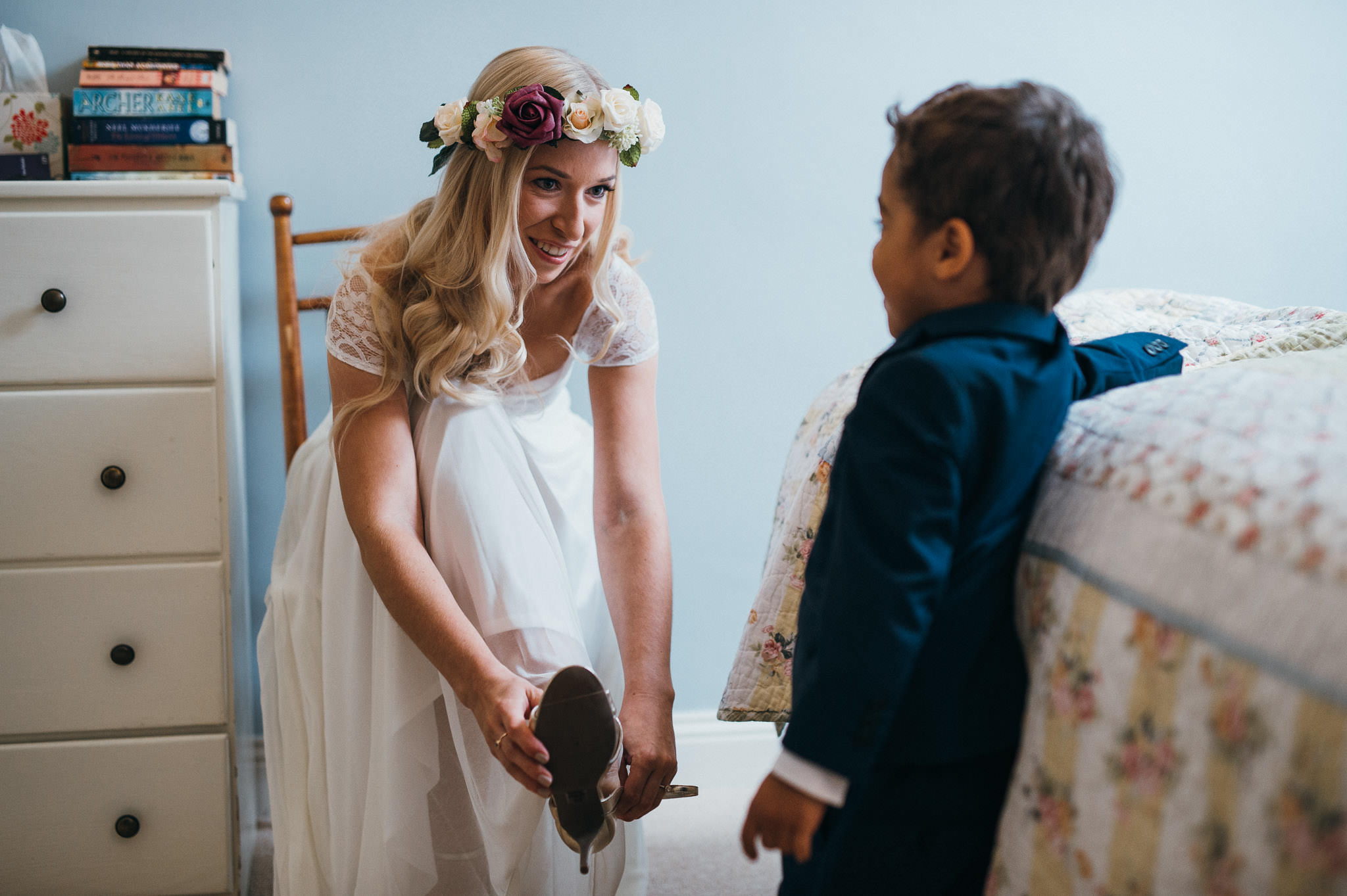 bride and son wedding photography