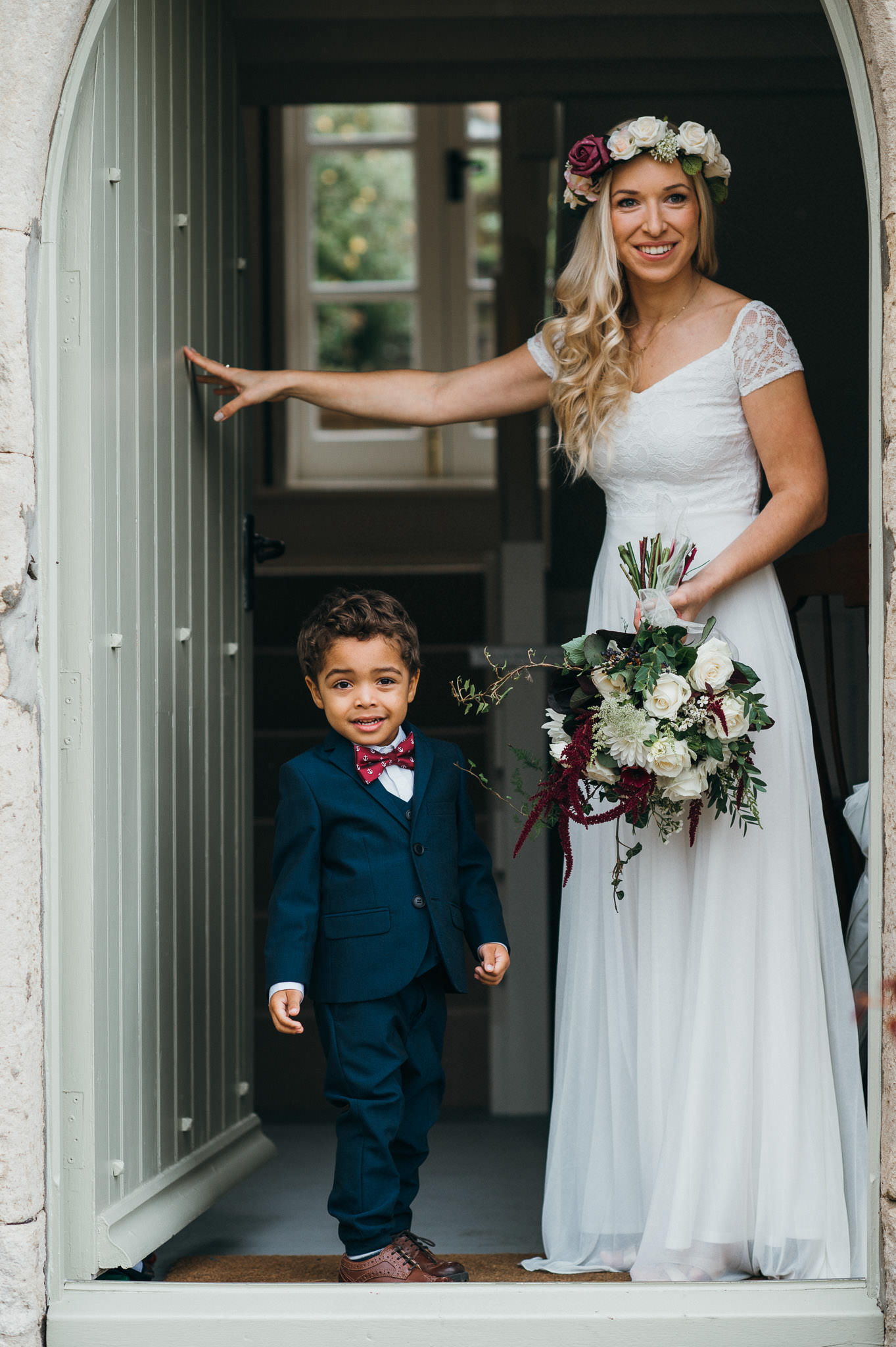bride and son wedding somerset