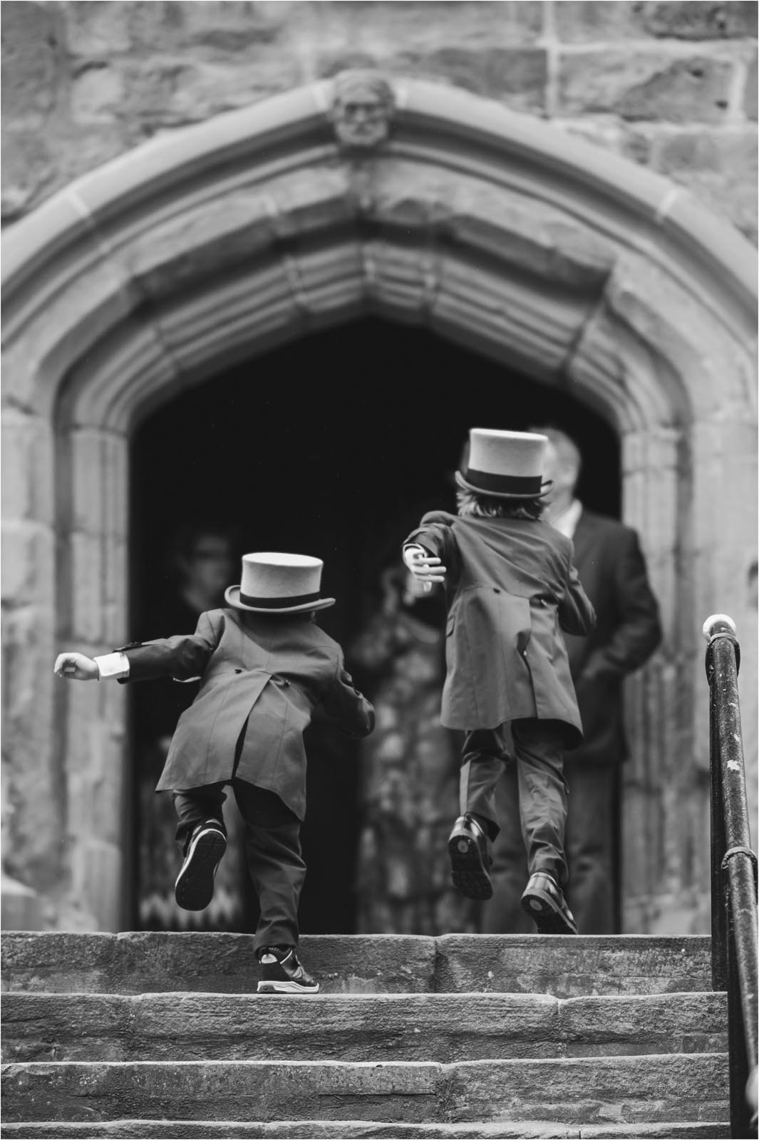 page boys in top hats