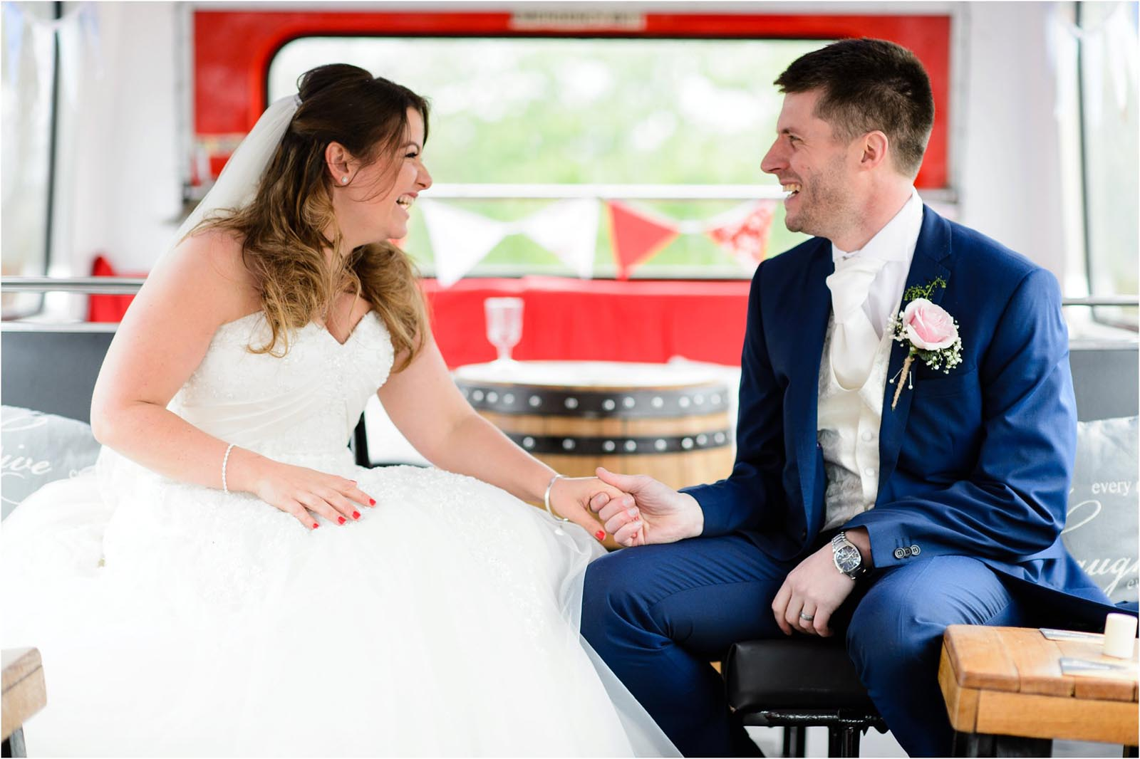 bride and groom wedding bus