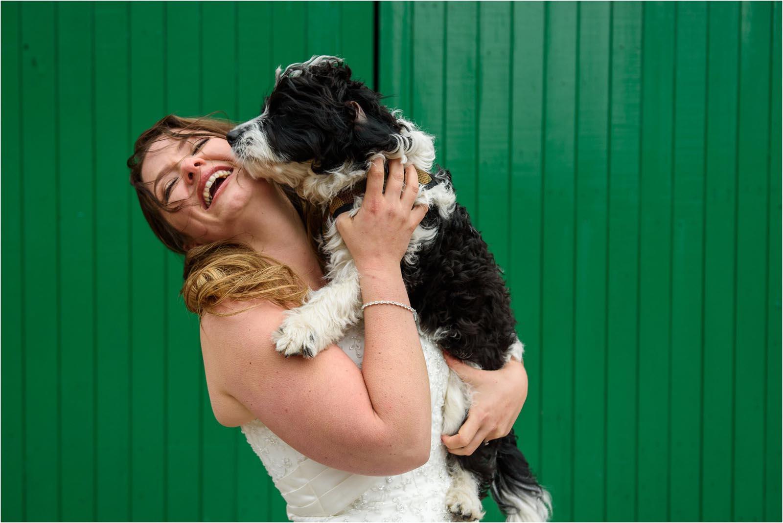 bride with dog Domvilles Farm