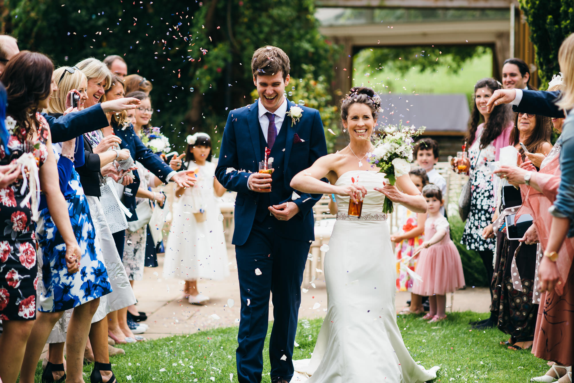 Confetti at Huntstile organic farm wedding
