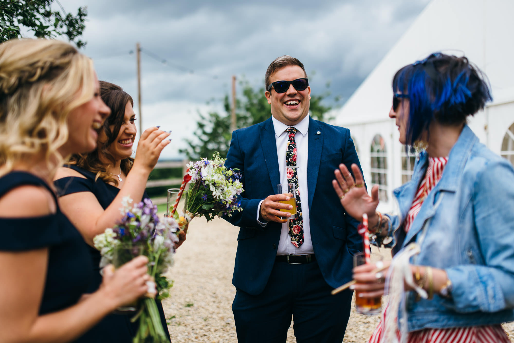 Reception at Huntstile organic farm wedding