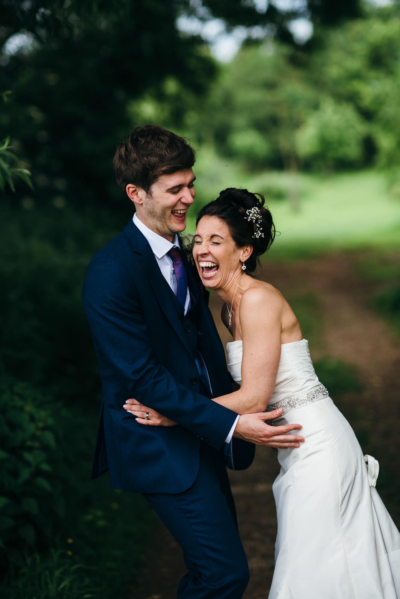 Laughing at Huntstile organic farm wedding