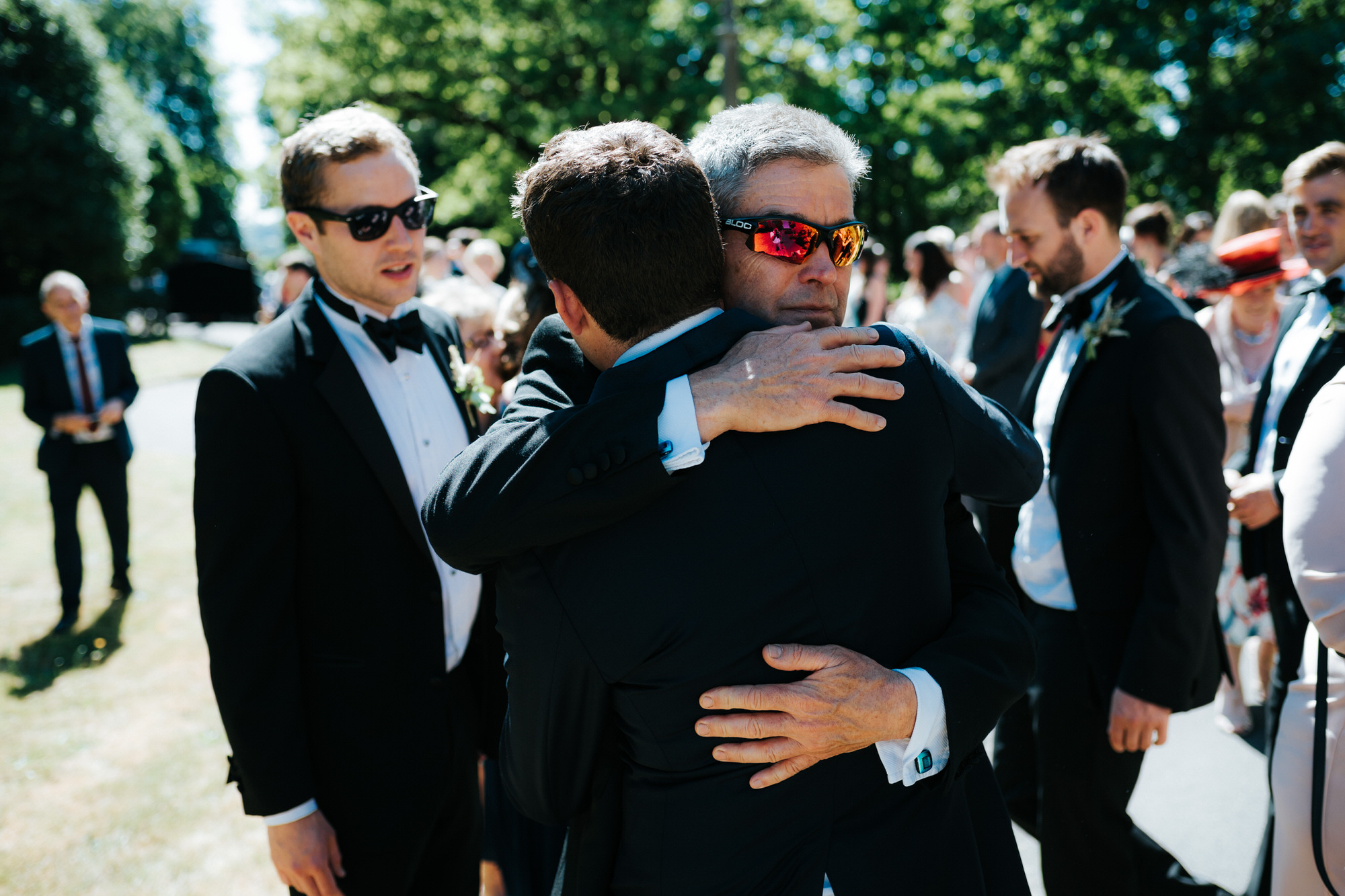 Celebration hugs after getting married