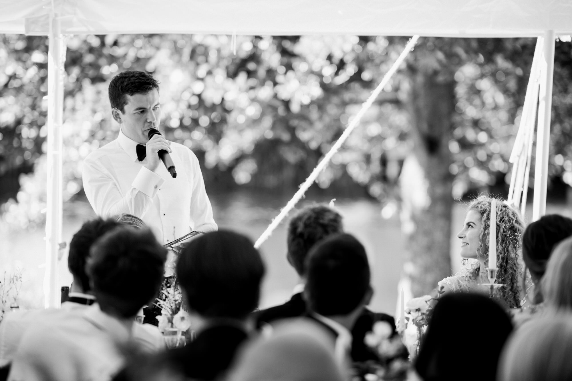 Groom during his speech to bride