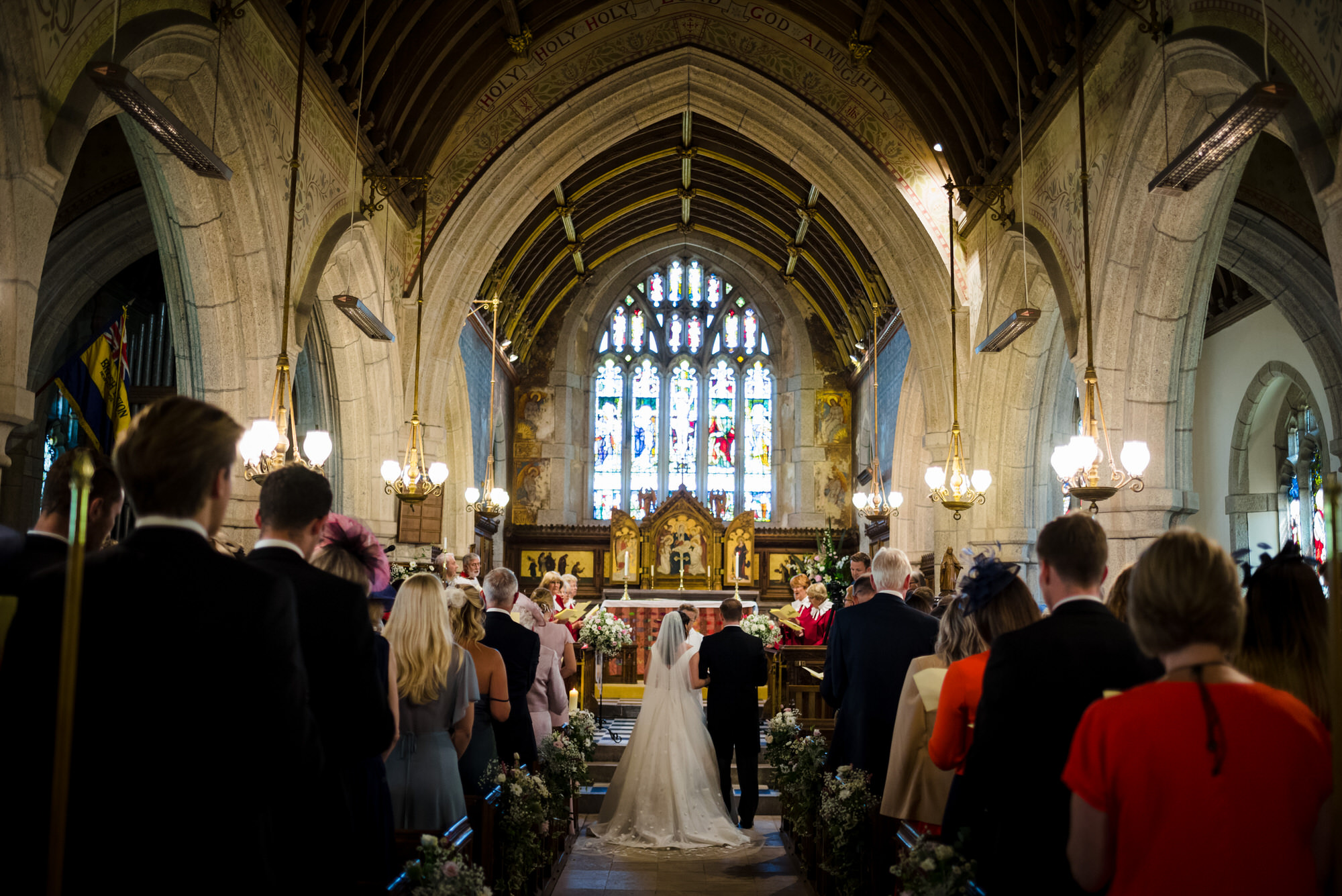 wedding ceremony at St Peters Church, Noss Mayo