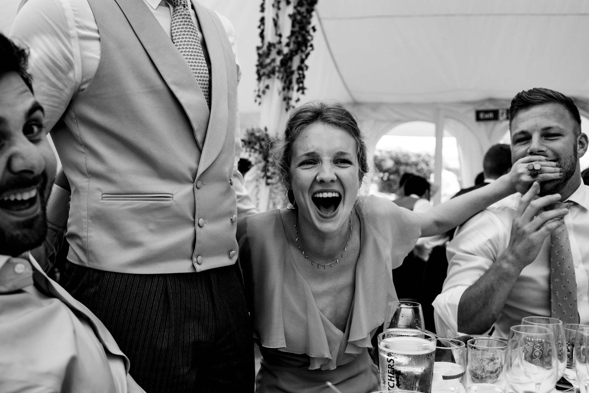 guests laughing at Shilstone wedding