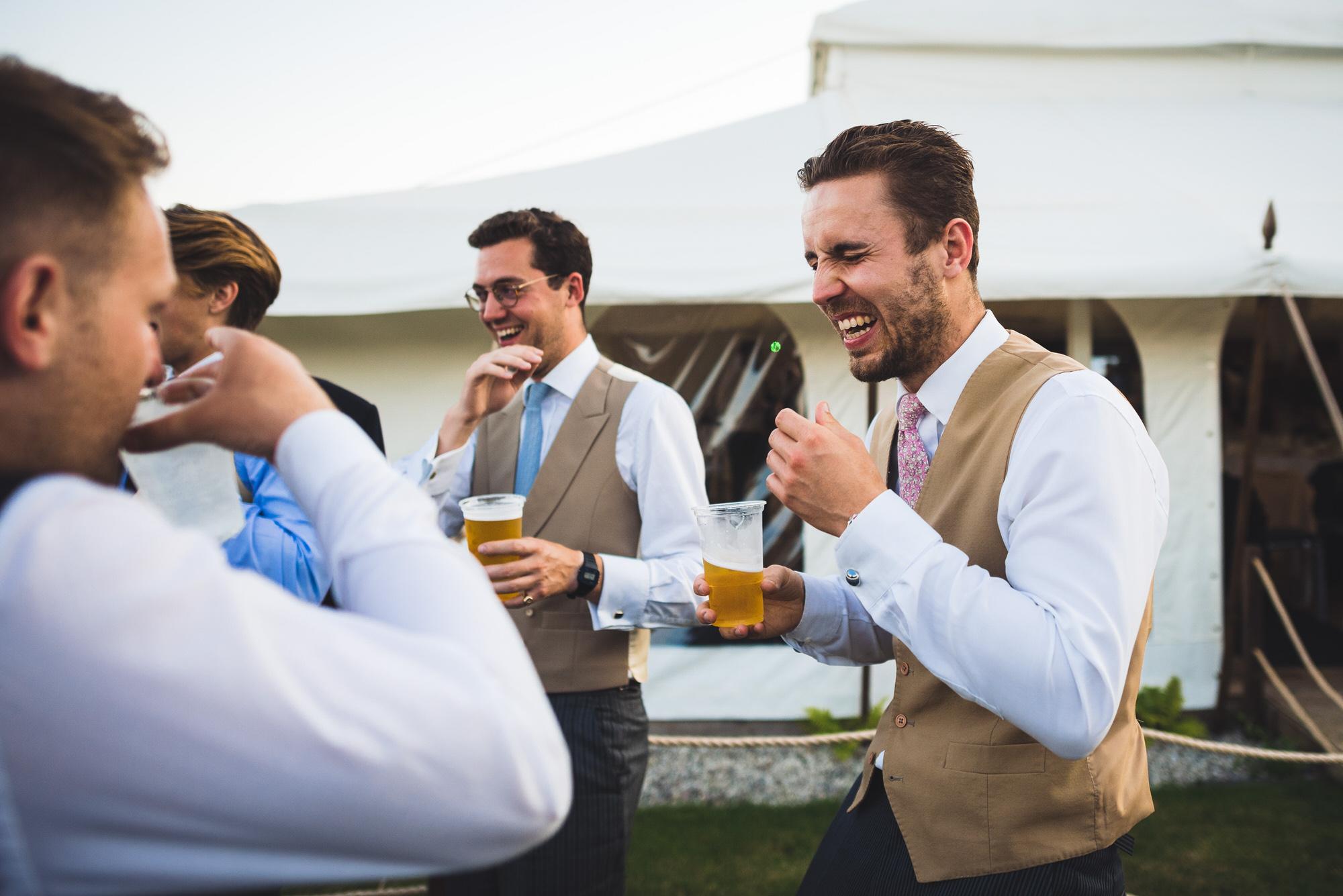 Guys laughing at Shilstone wedding