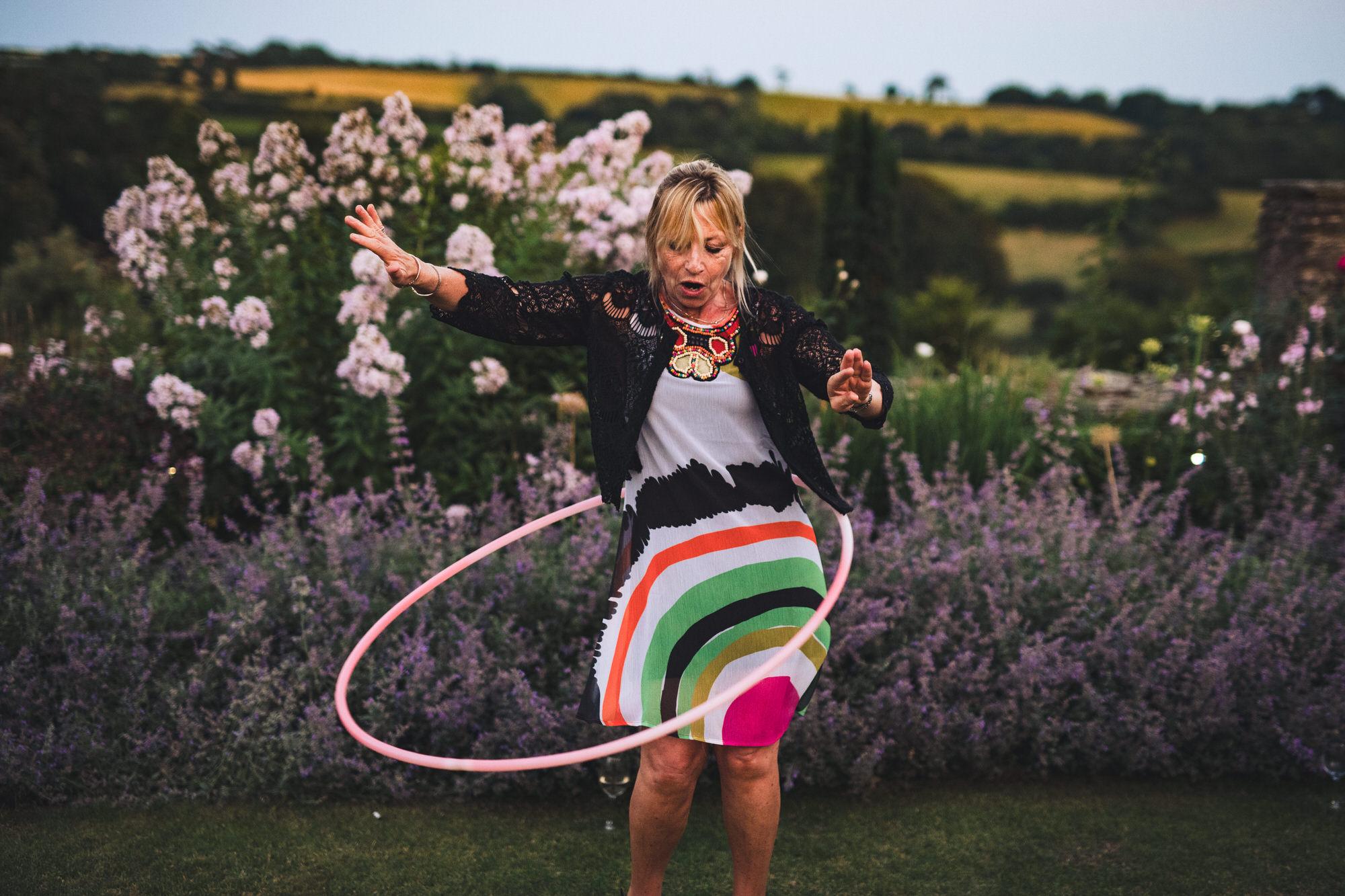 hula hooping at Shilstone House wedding
