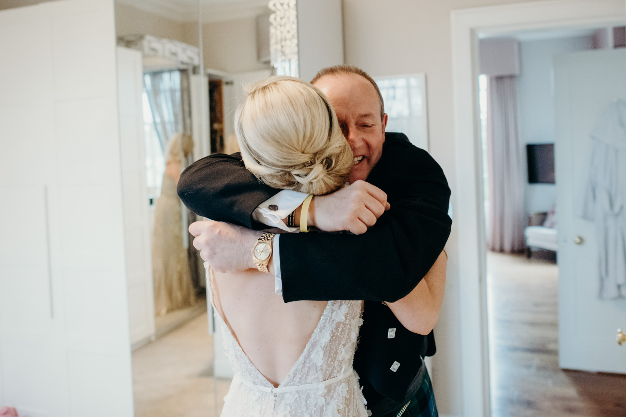 Emotional hug from dad