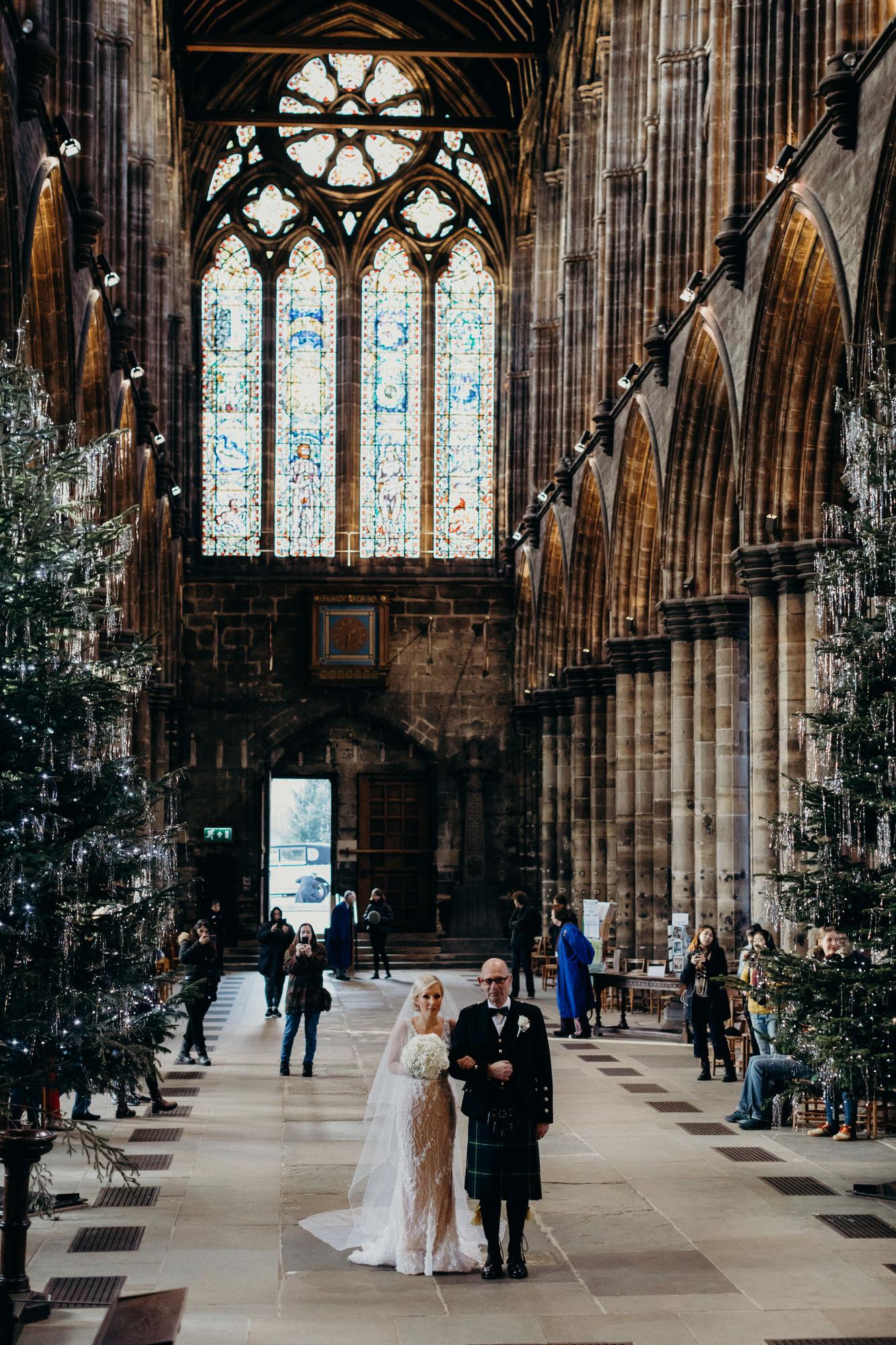 Glasgow Cathedral wedding bride entrance
