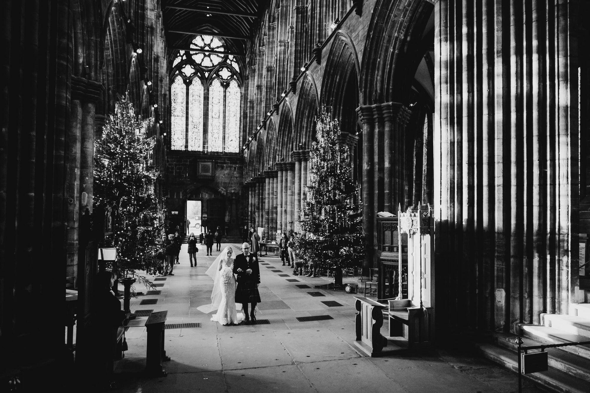 Glasgow Cathedral wedding entrance of bride