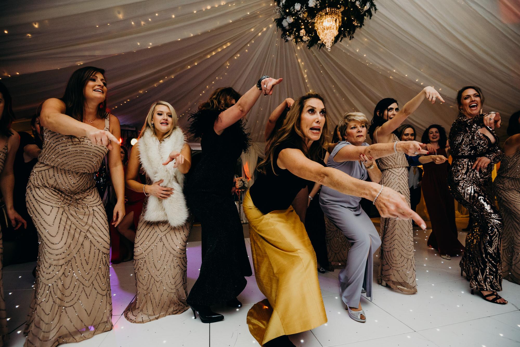 Dance off at Duntreath Castle wedding