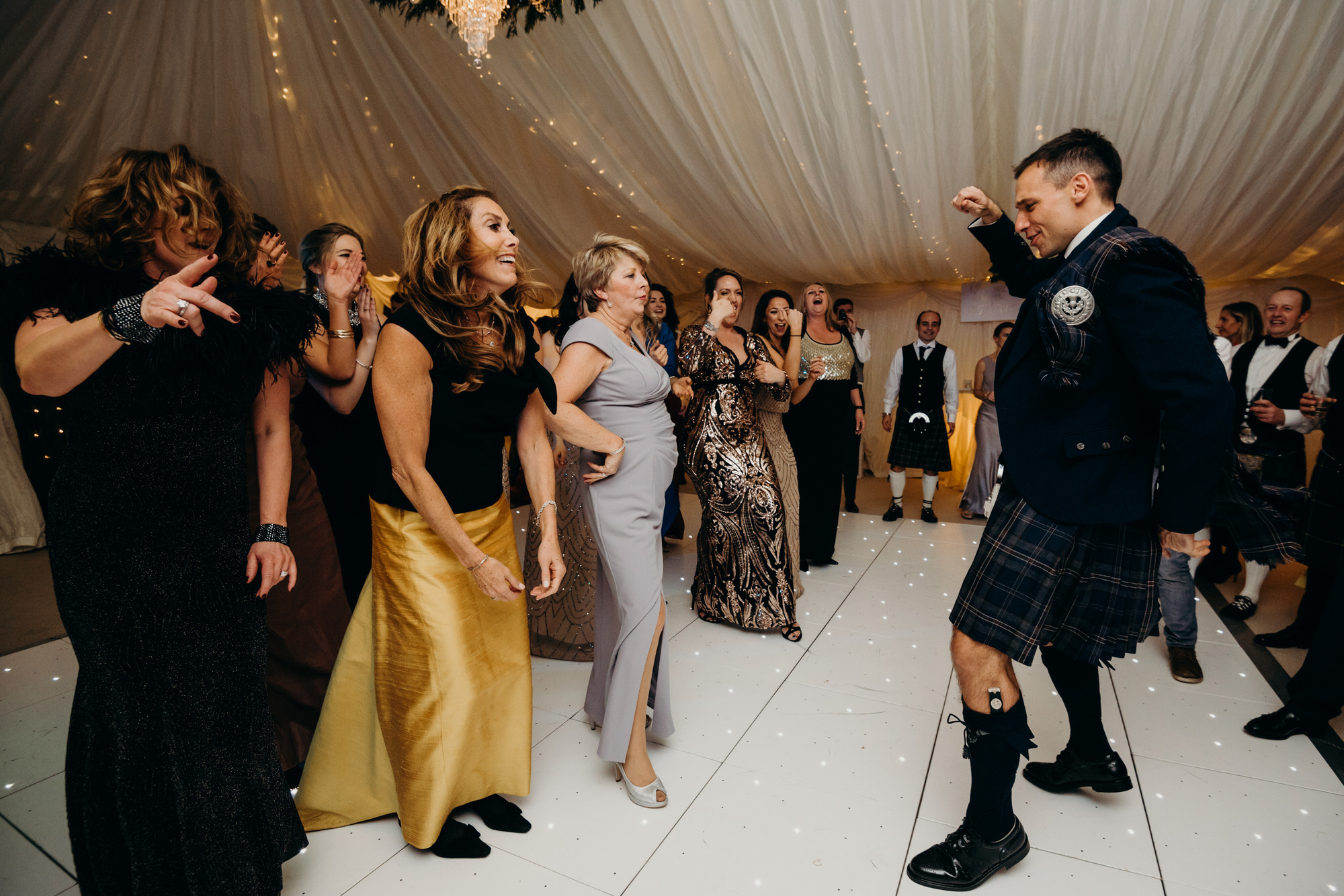 Girls Dancing at Duntreath Castle wedding