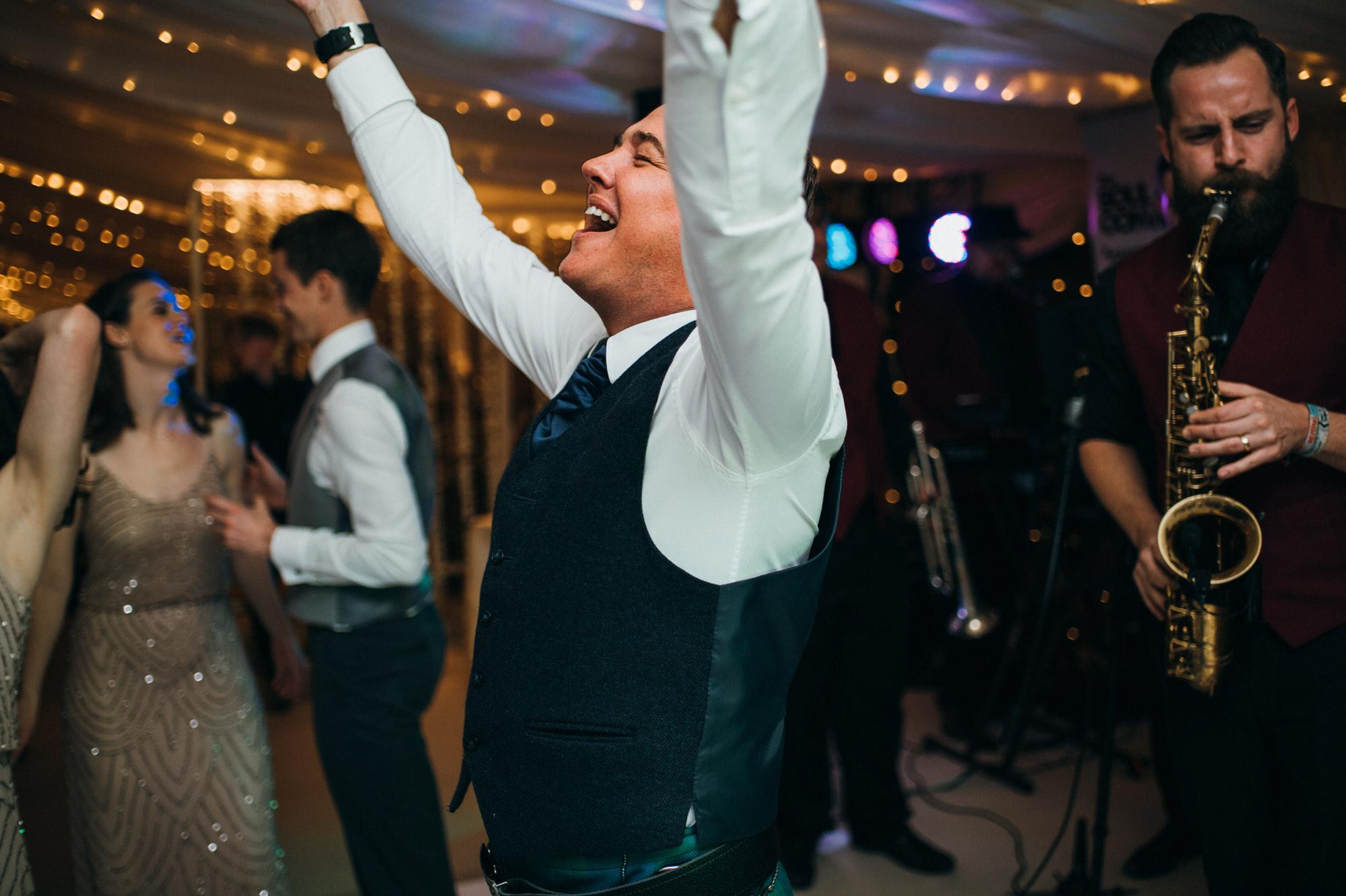guest dancing at Duntreath castle