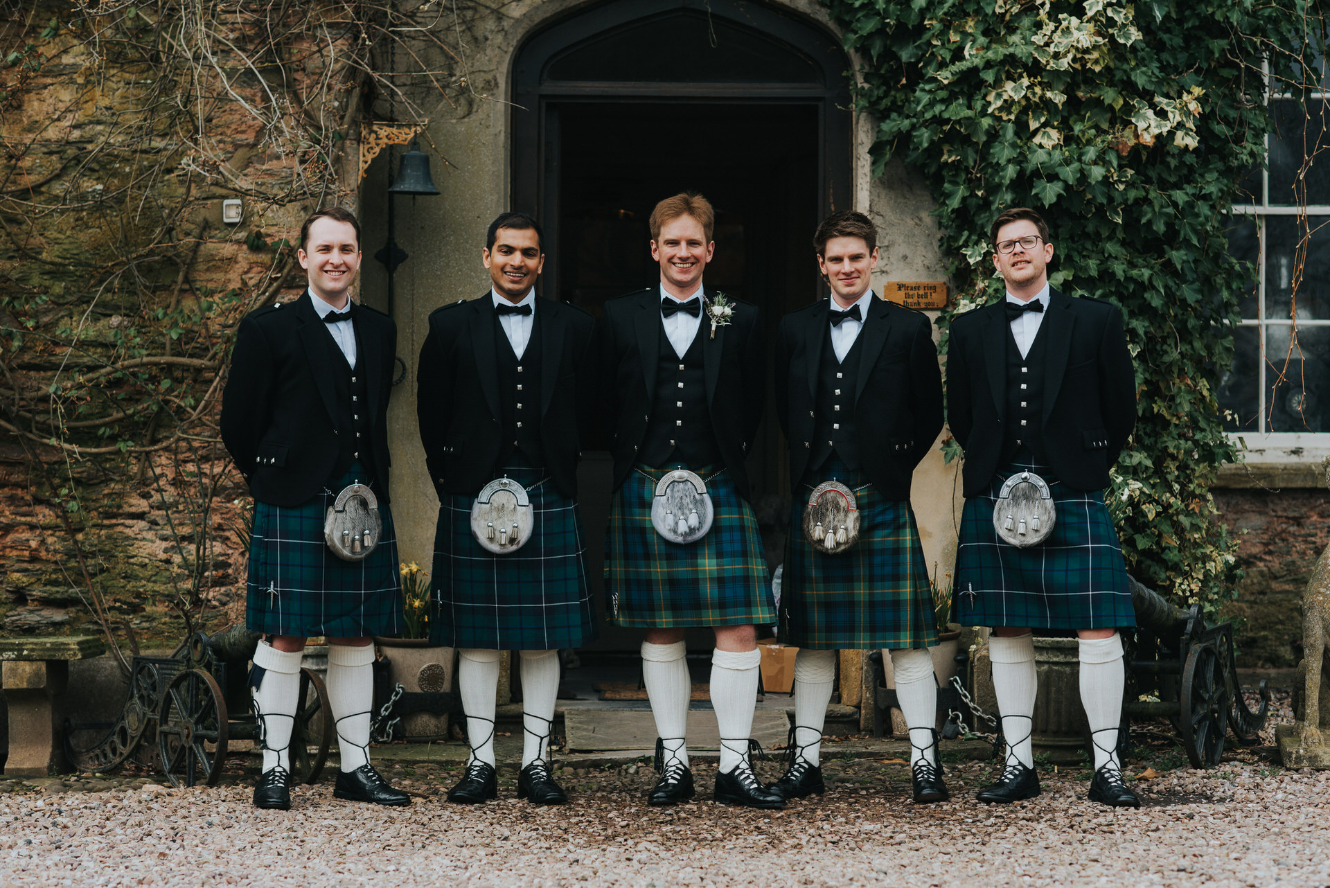 Groomsmen group outside Maunsel
