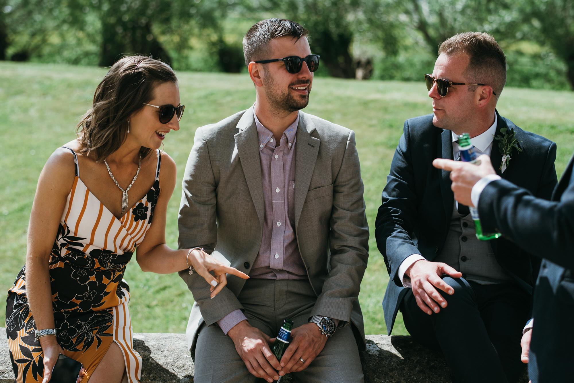 Guests enjoy wedding reception