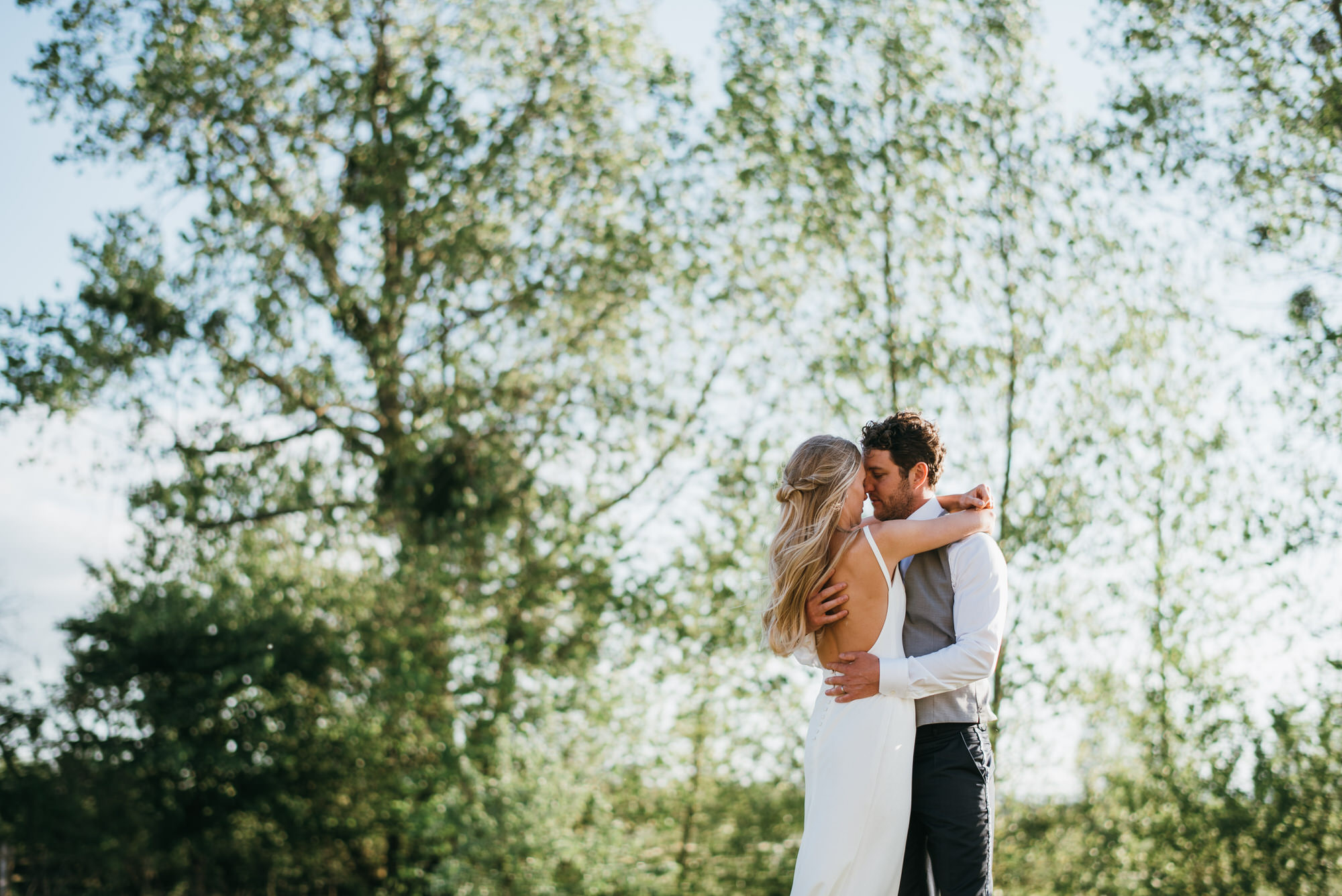 Bride and Groom at Almonry Barn