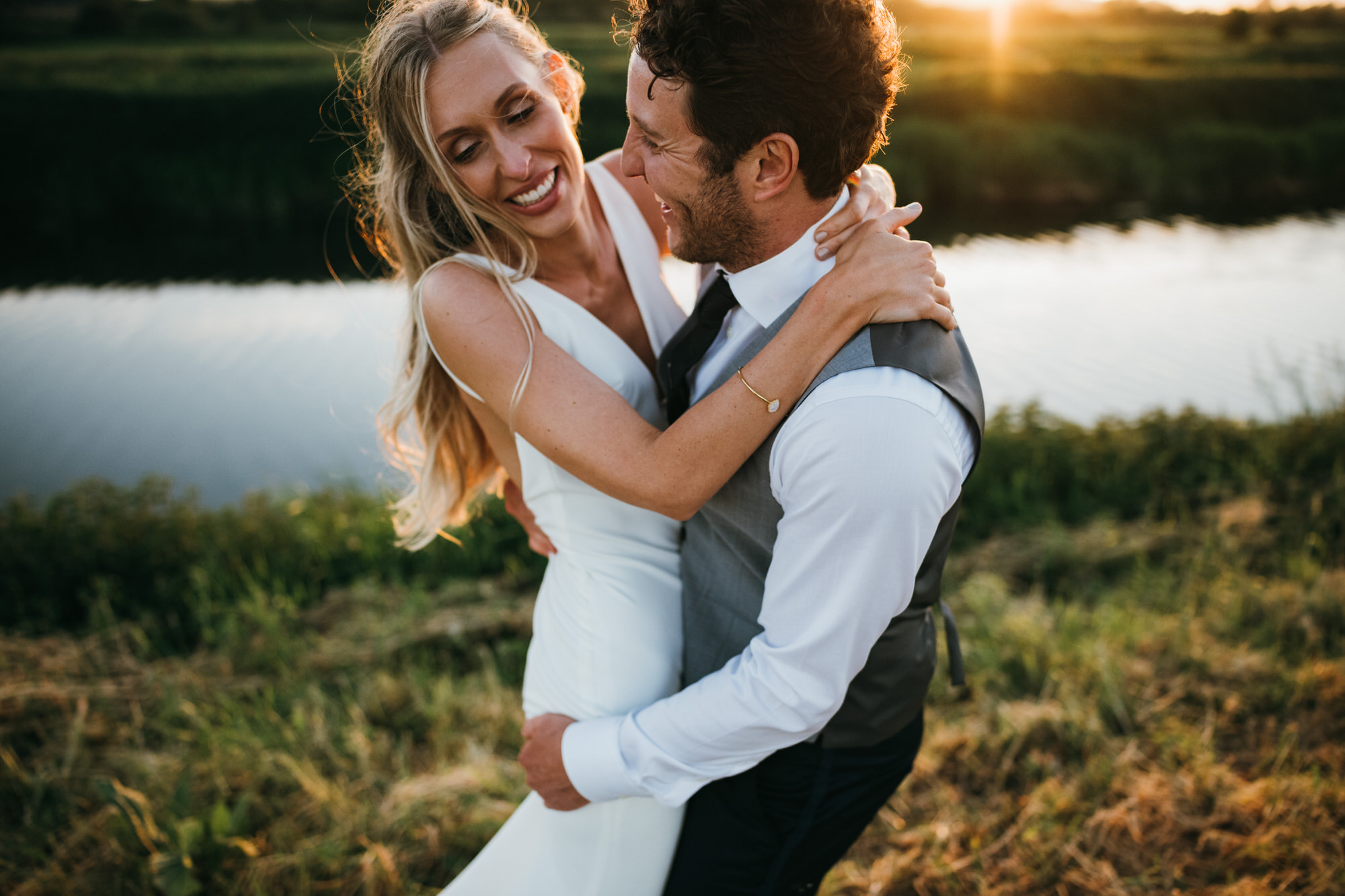 Golden hour newlyweds at Almonry Barn