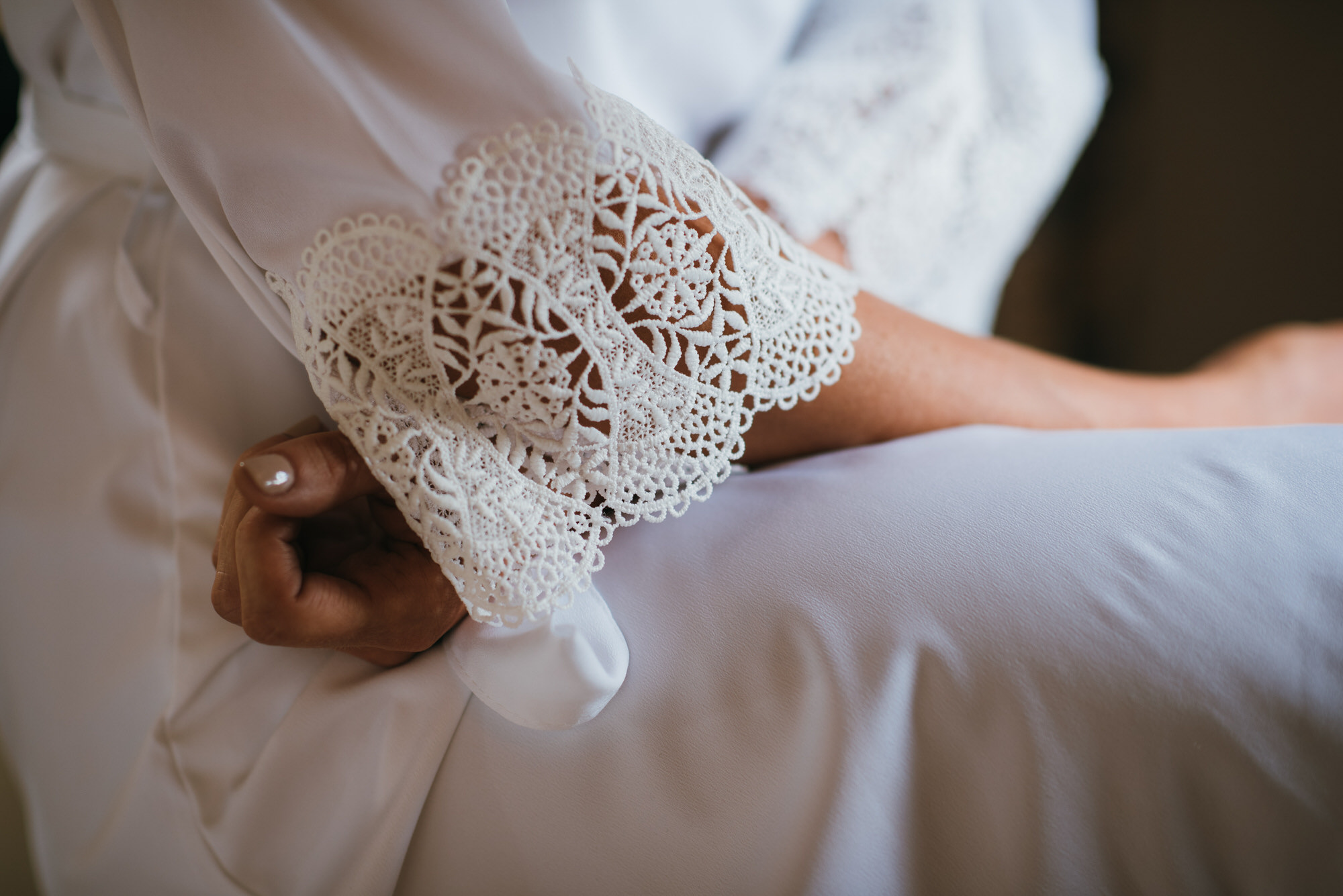 Lace detail on gown
