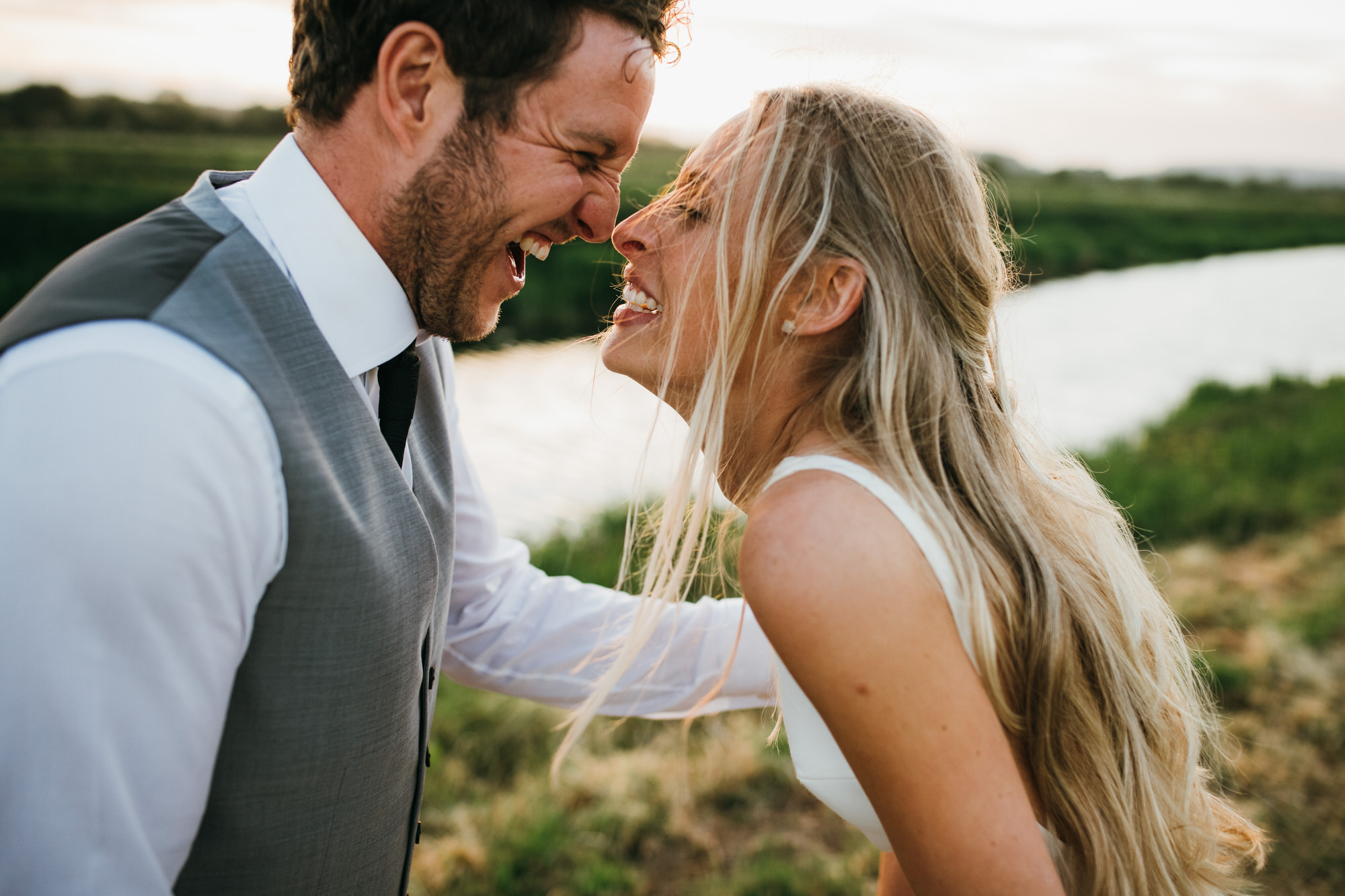 Bride and groom Almonry Barn