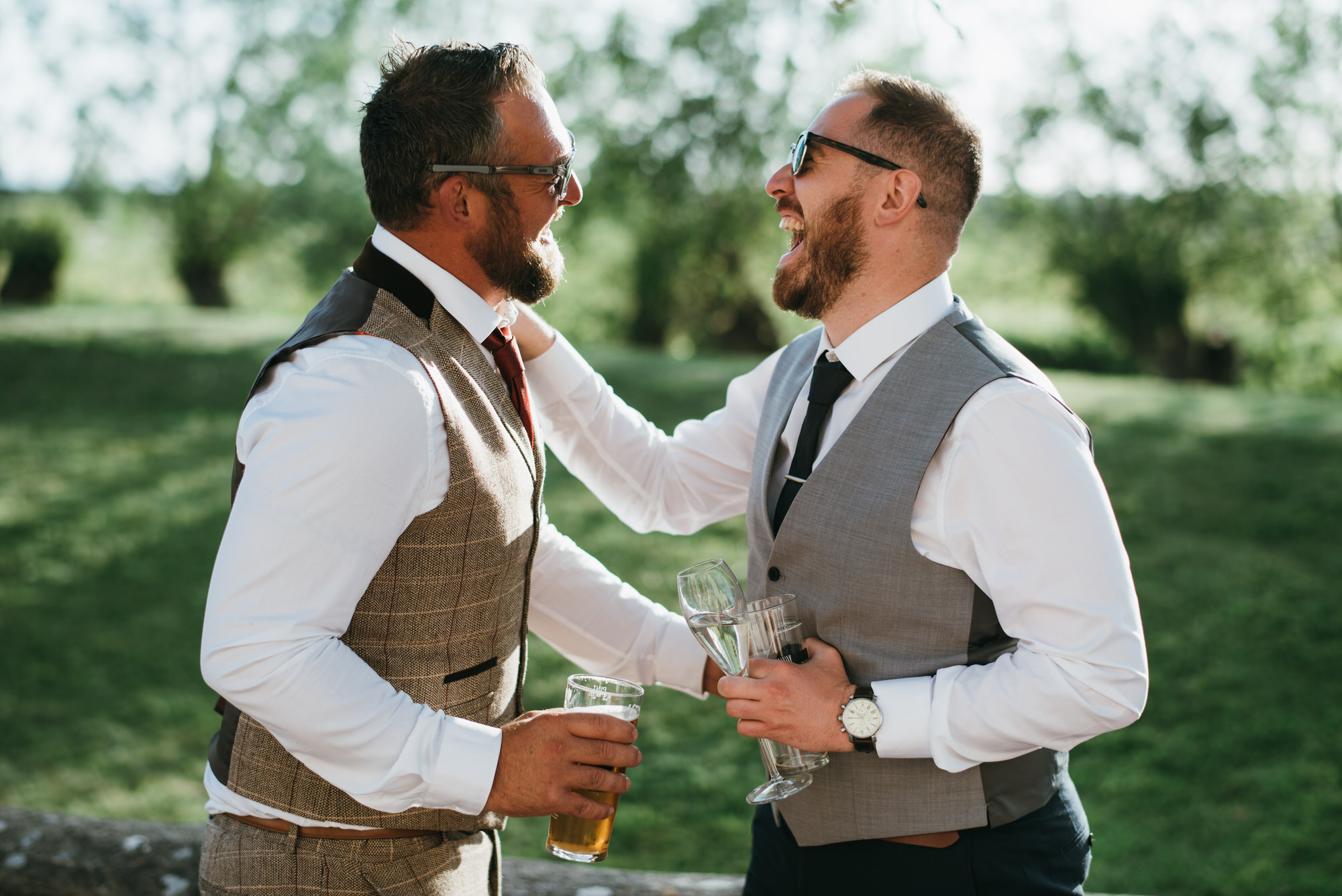 Two guys laughing