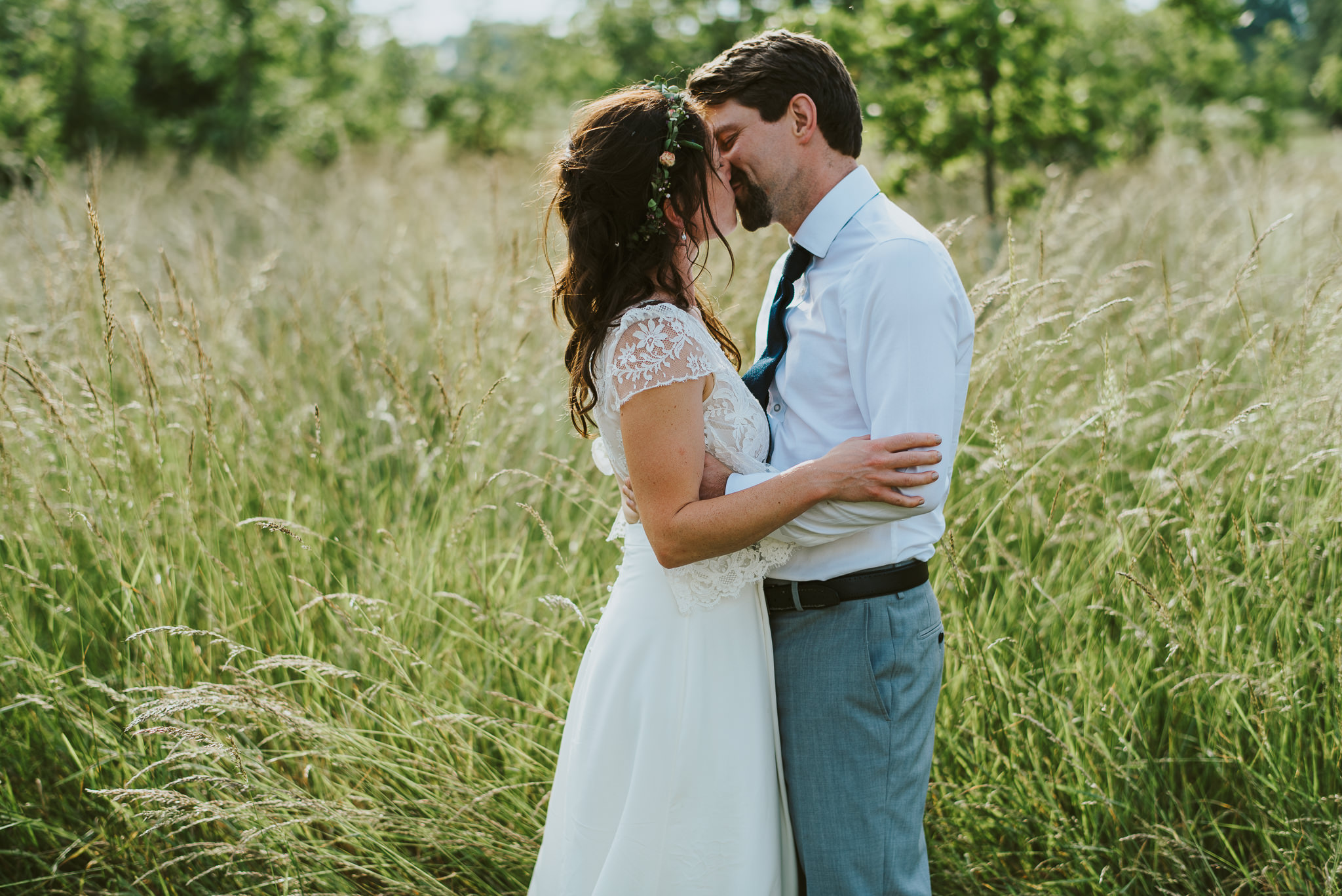 The Farm camp wedding couple