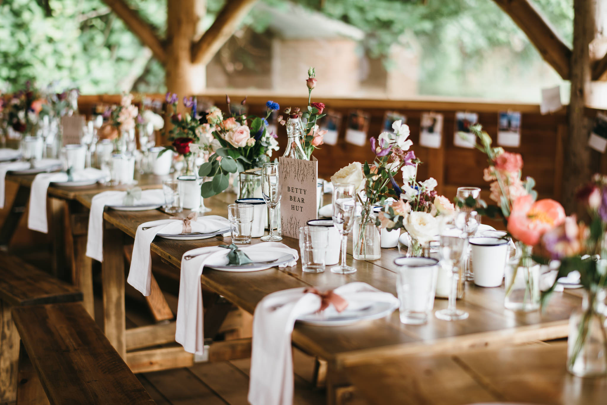Farm camp wedding setup