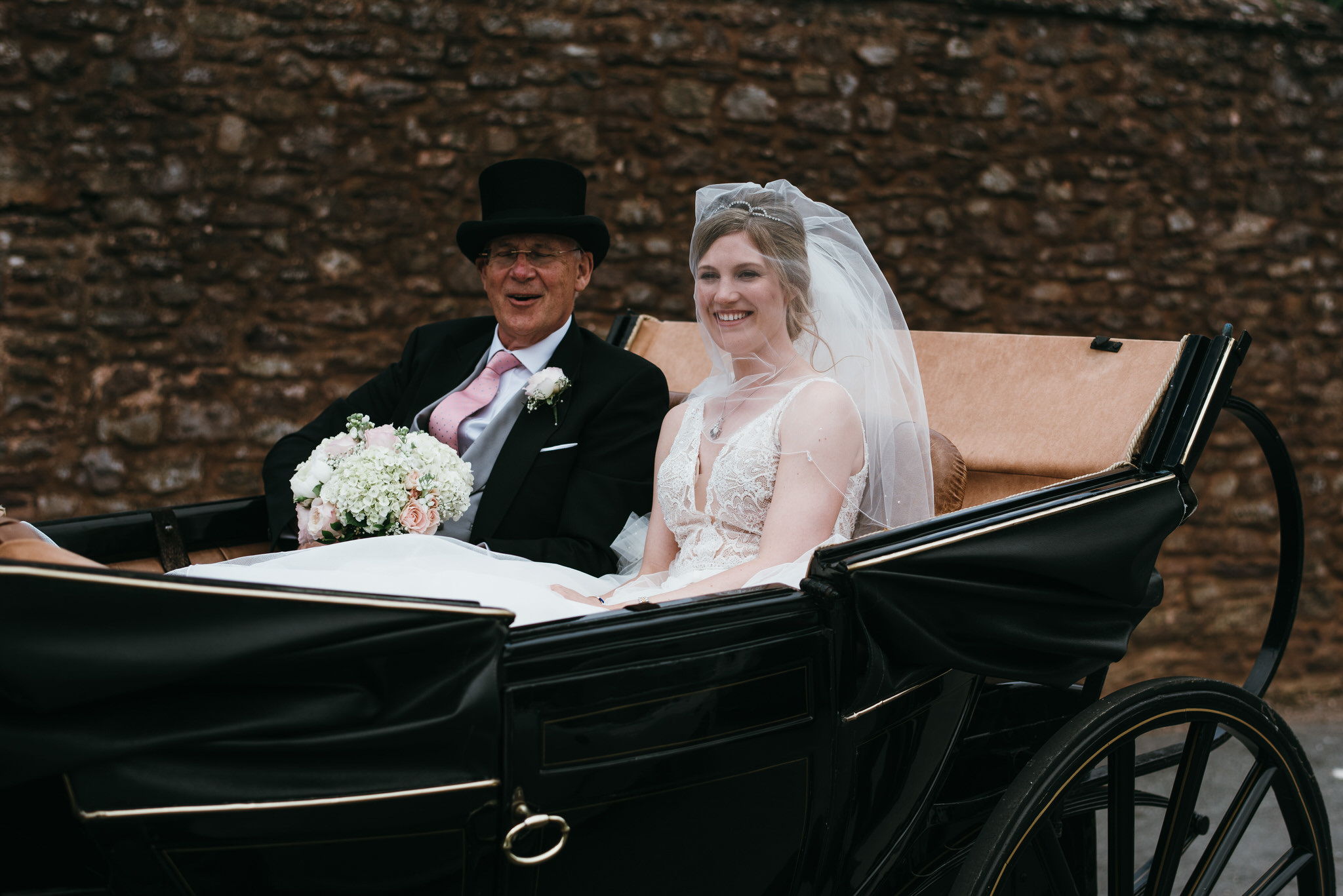 Bride arrives at church in Dunster