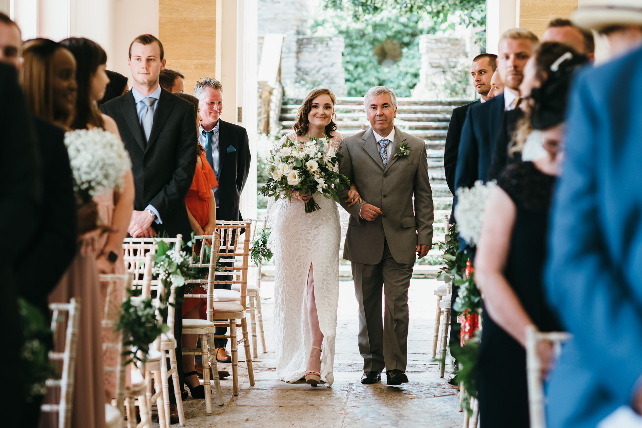 Bride walks down aisle Hestercombe