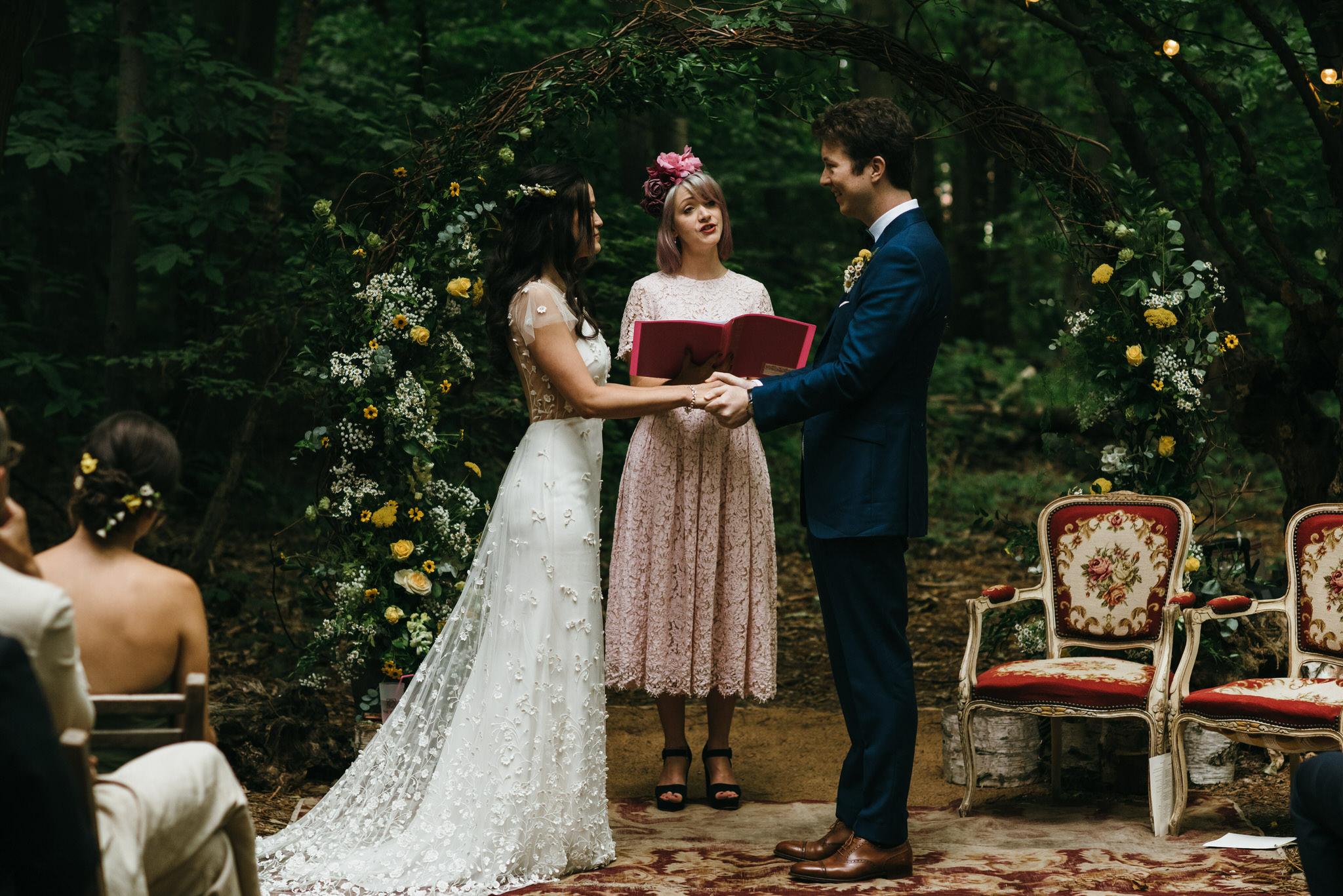 Samantha Kelsie wedding ceremony The Dreys