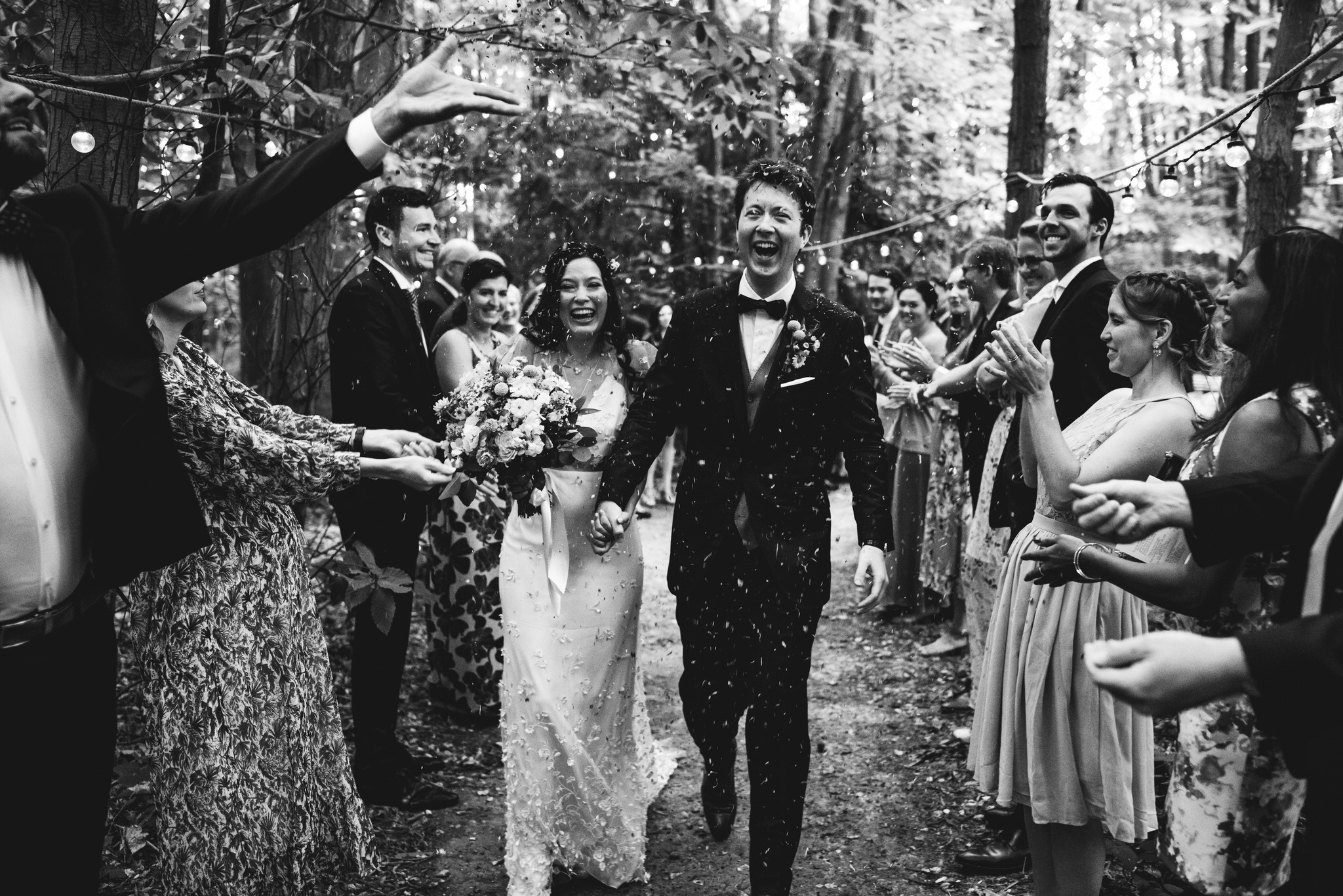 Confetti at the dreys kent wedding ceremony in the woods