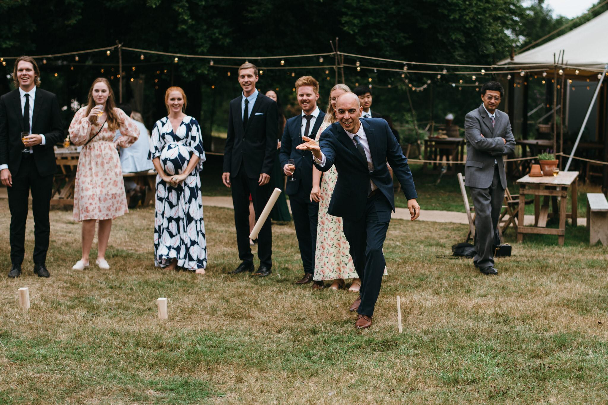 Guests play wedding games at The dreys