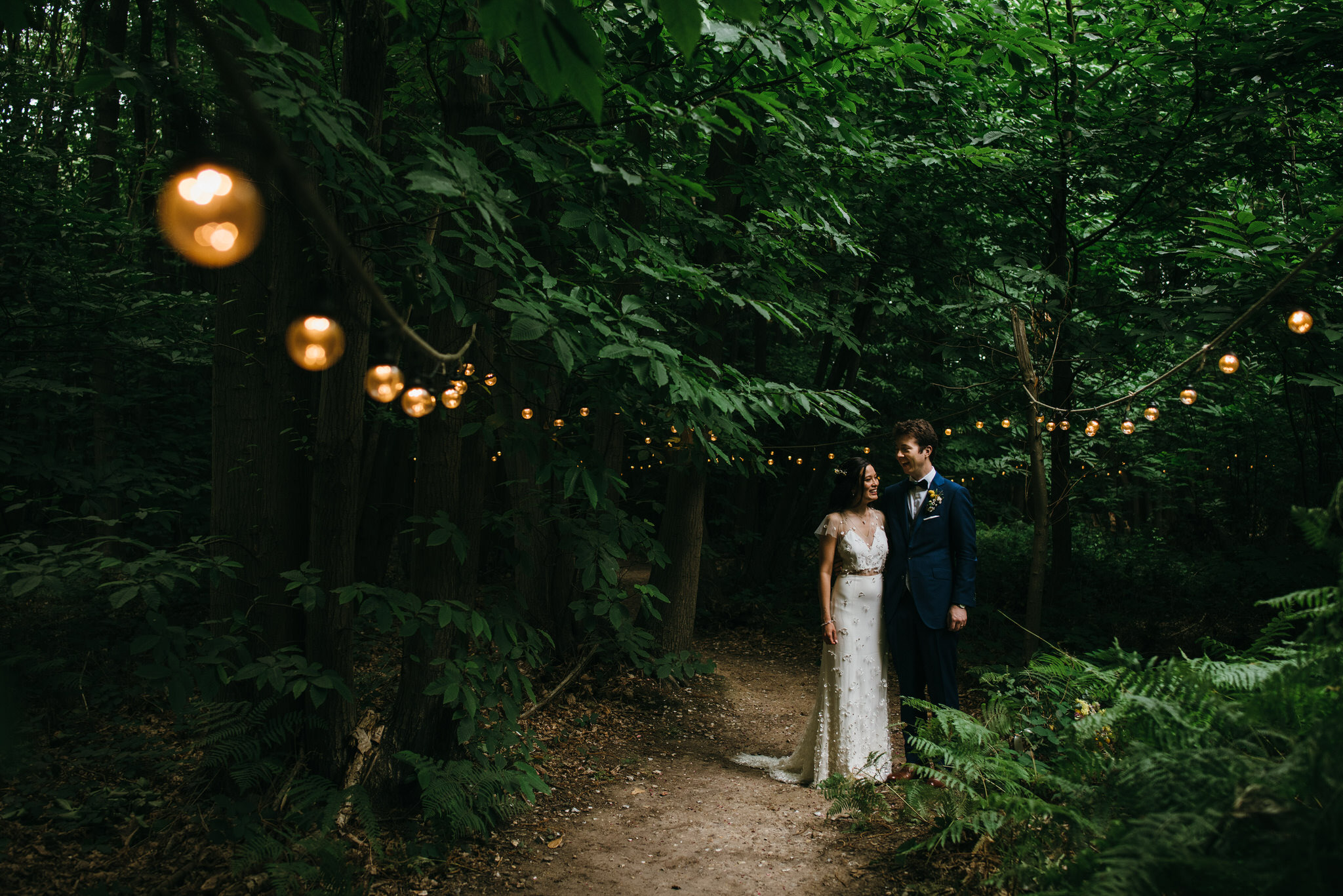 The dreys kent wedding photography - bride and groom in the woods