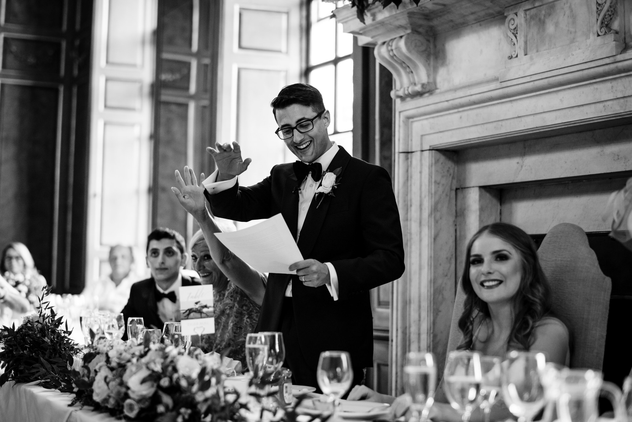 Groom gives speech at Gosfield hall wedding