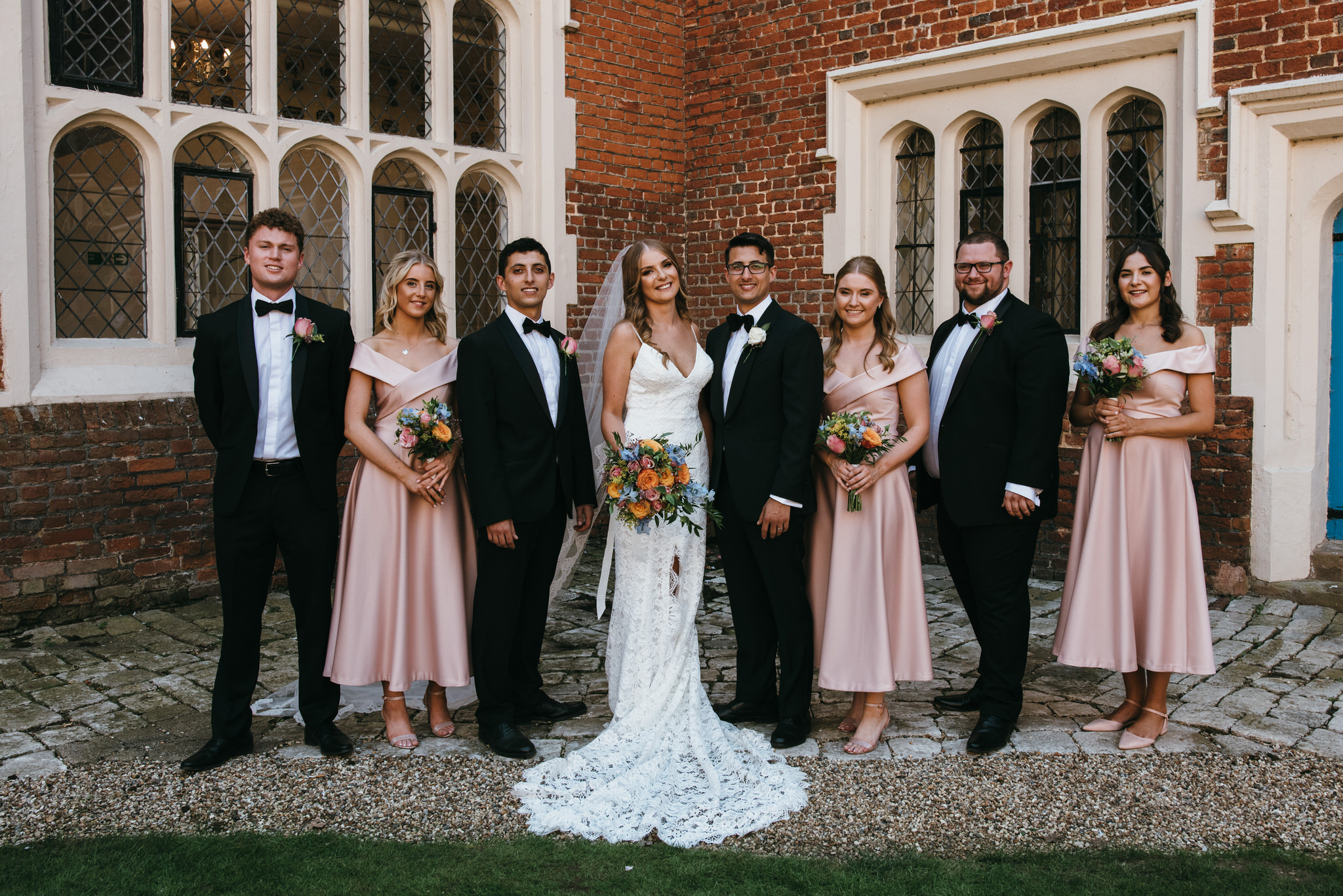 Bridal party group photo at Gosfield Hall wedding