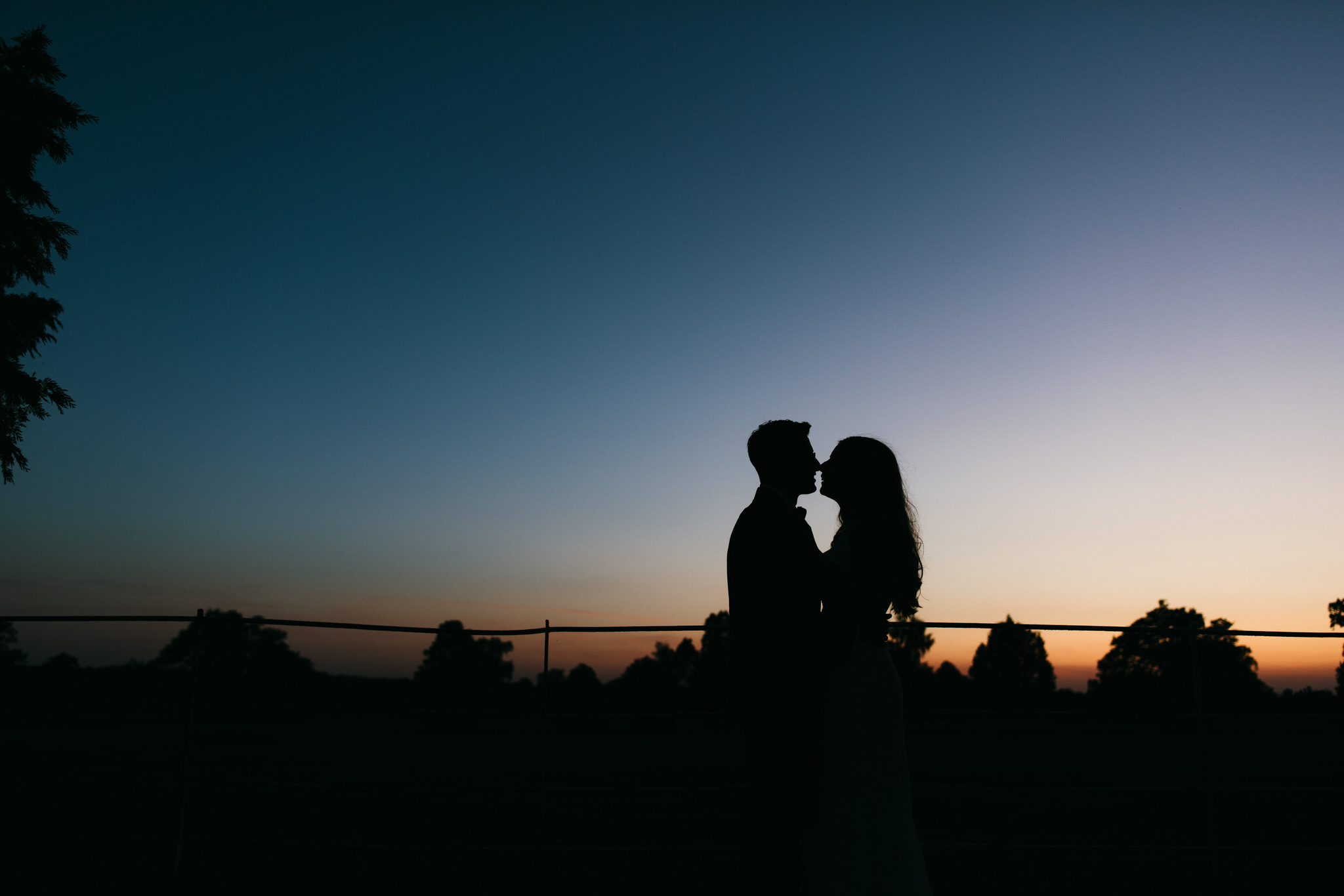 Bride and groom silhouette at Gosfield Hall