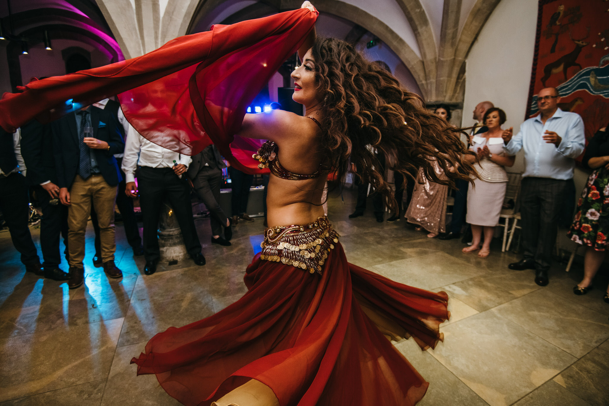 Belly dancing during a wedding at Bishops Palace Wells