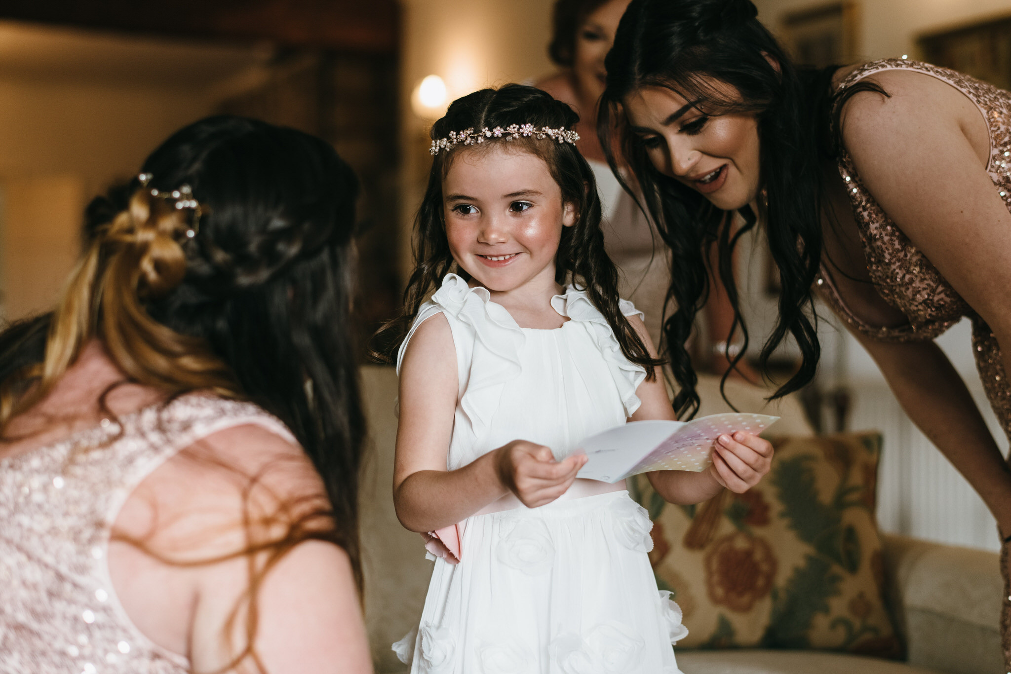 Flower girl gets given gift by bride