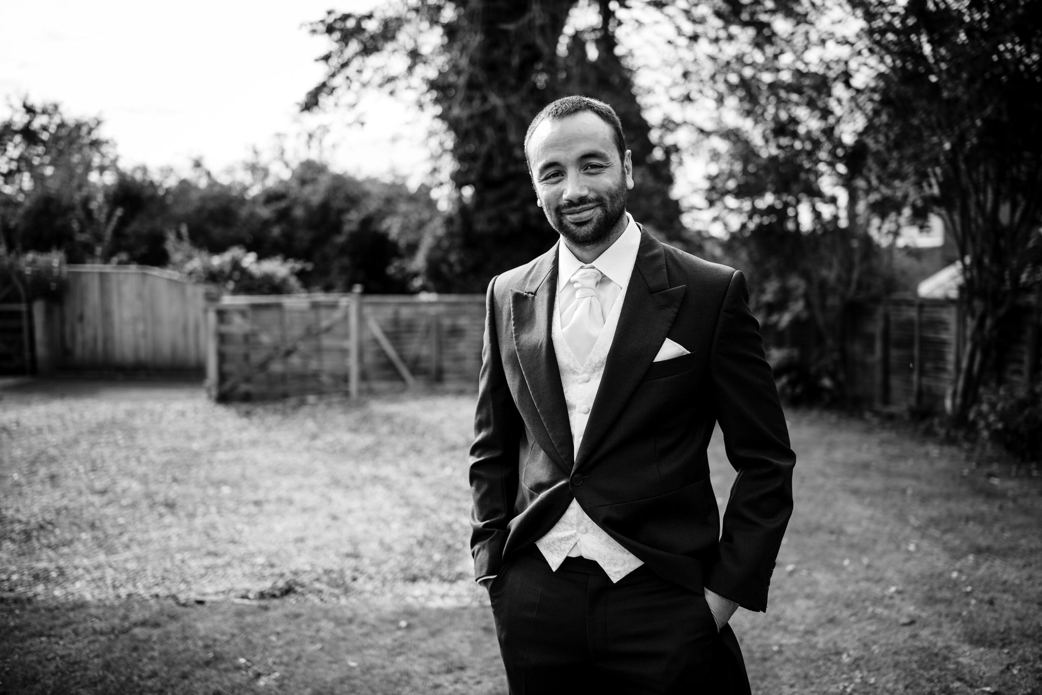 Groom portrait in black and white