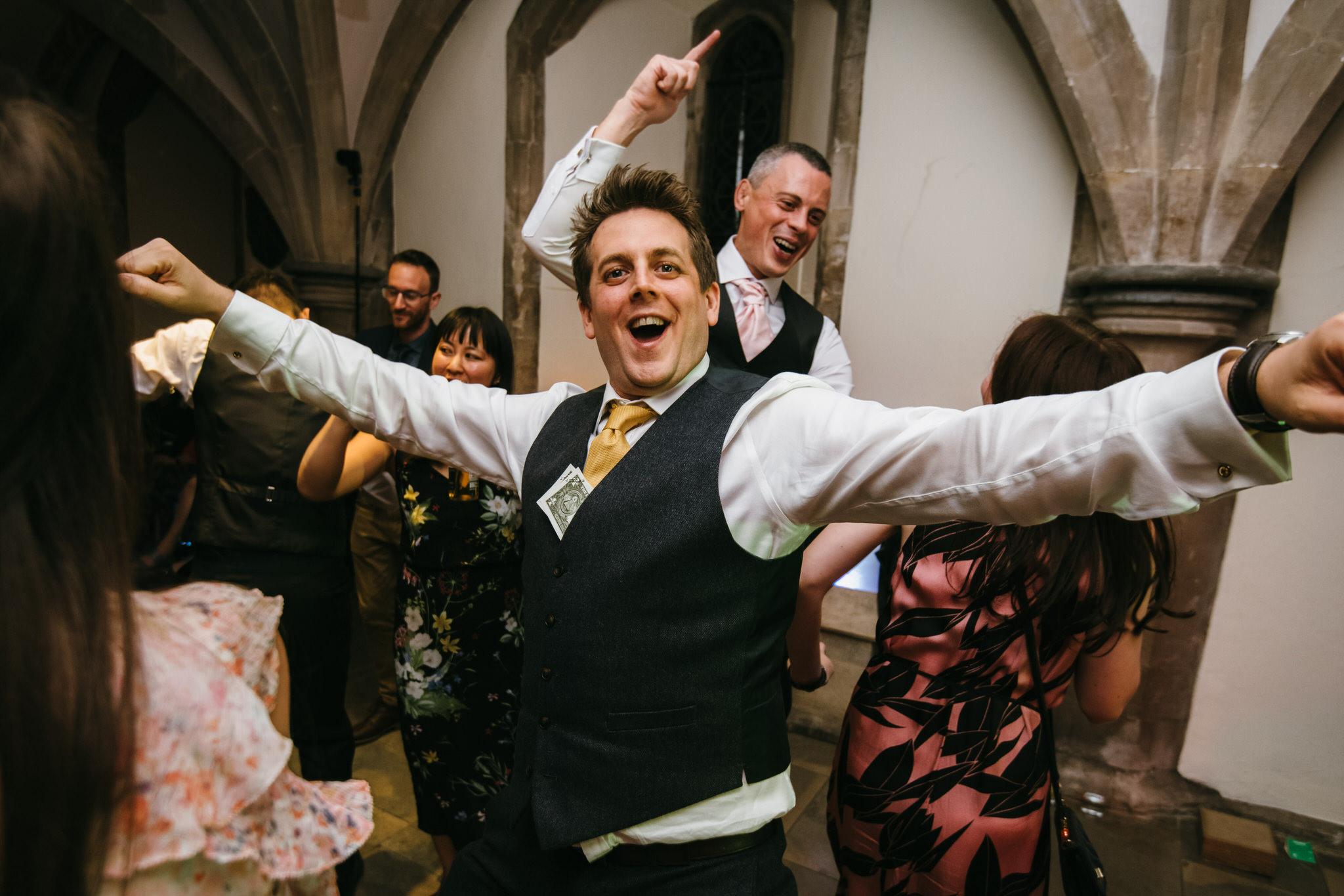 Dance floor fun at a Bishops palace wedding