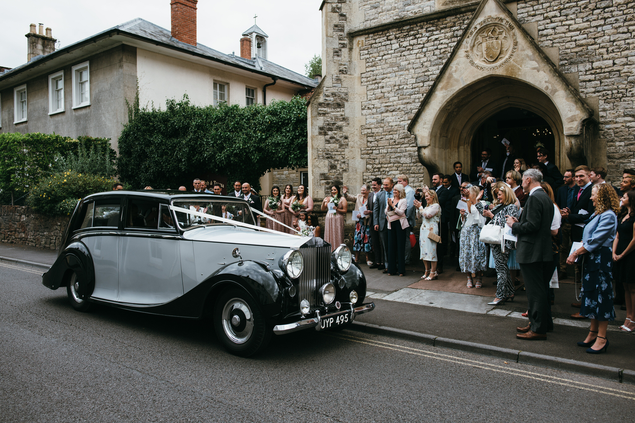 De Gournay car drives off with newlyweds in Wells