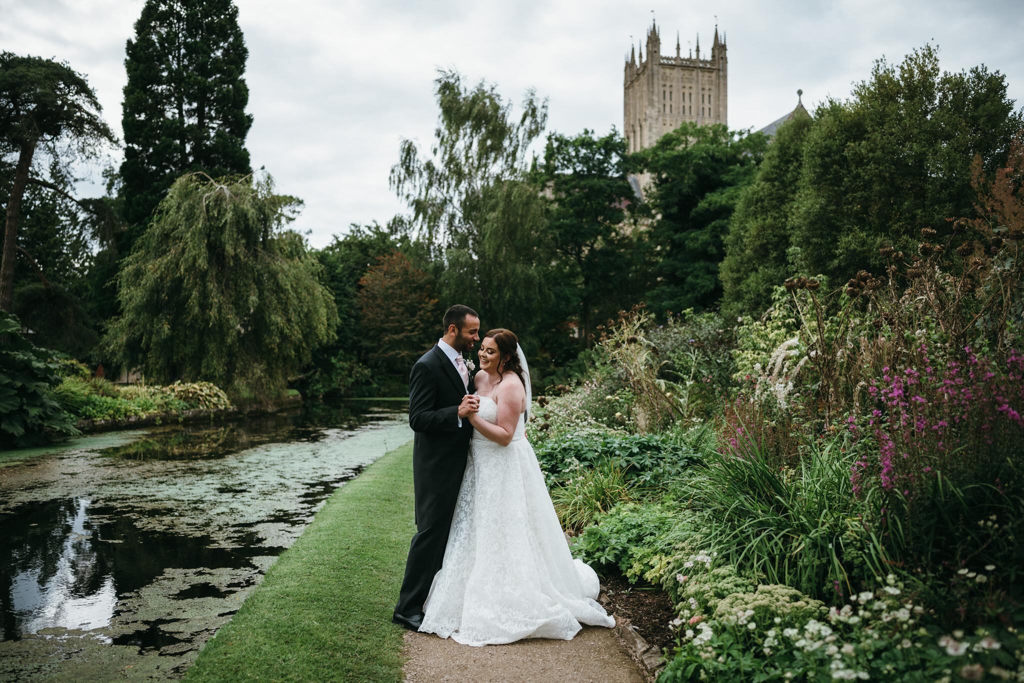 Bride and Groom at Bishops palace