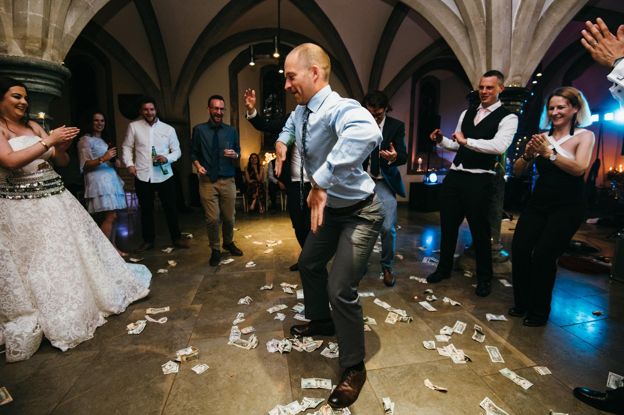 Funny dancing at Bishops Palace wedding