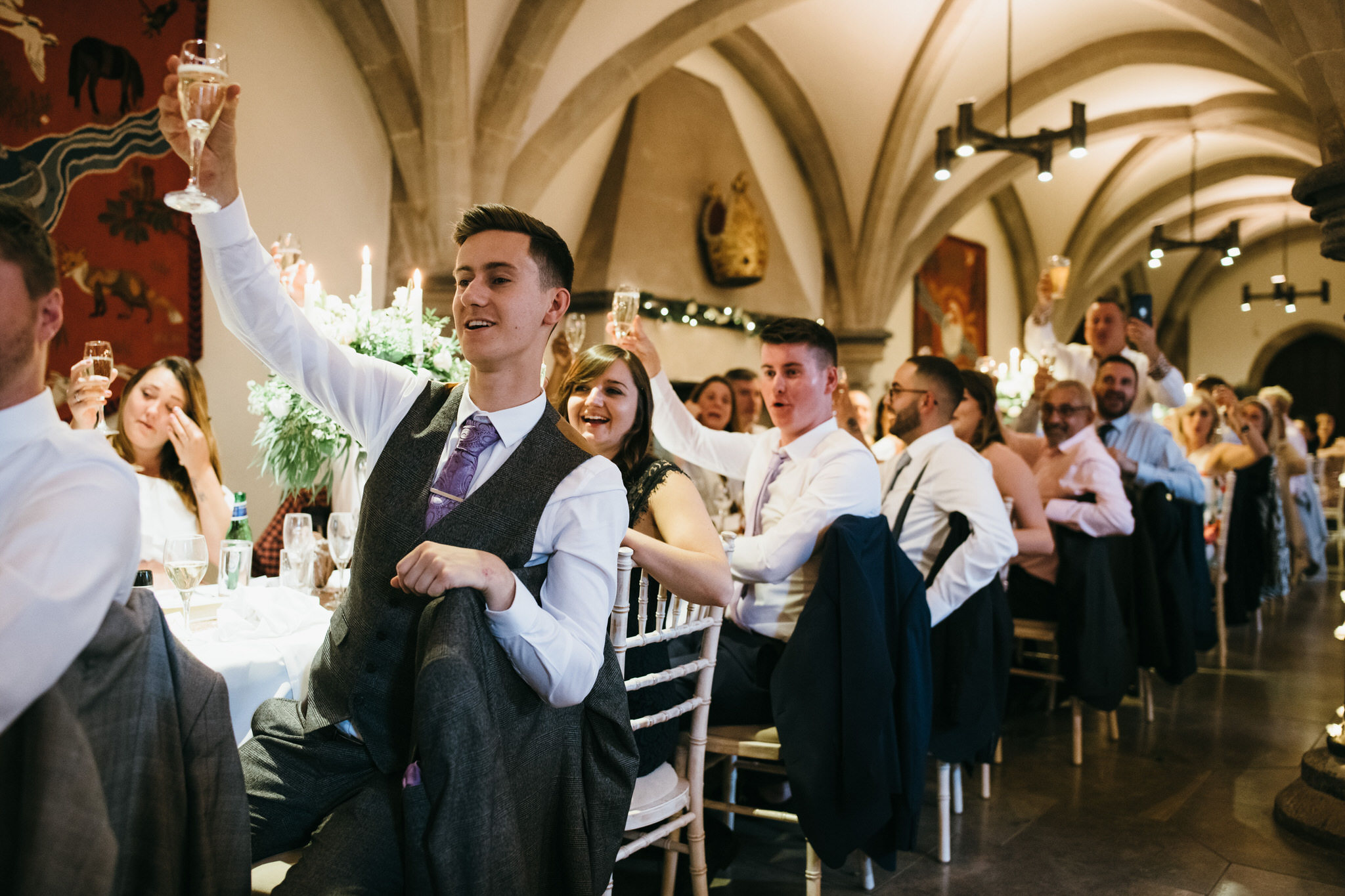 Raising a toast at Bishops palace wedding speeches