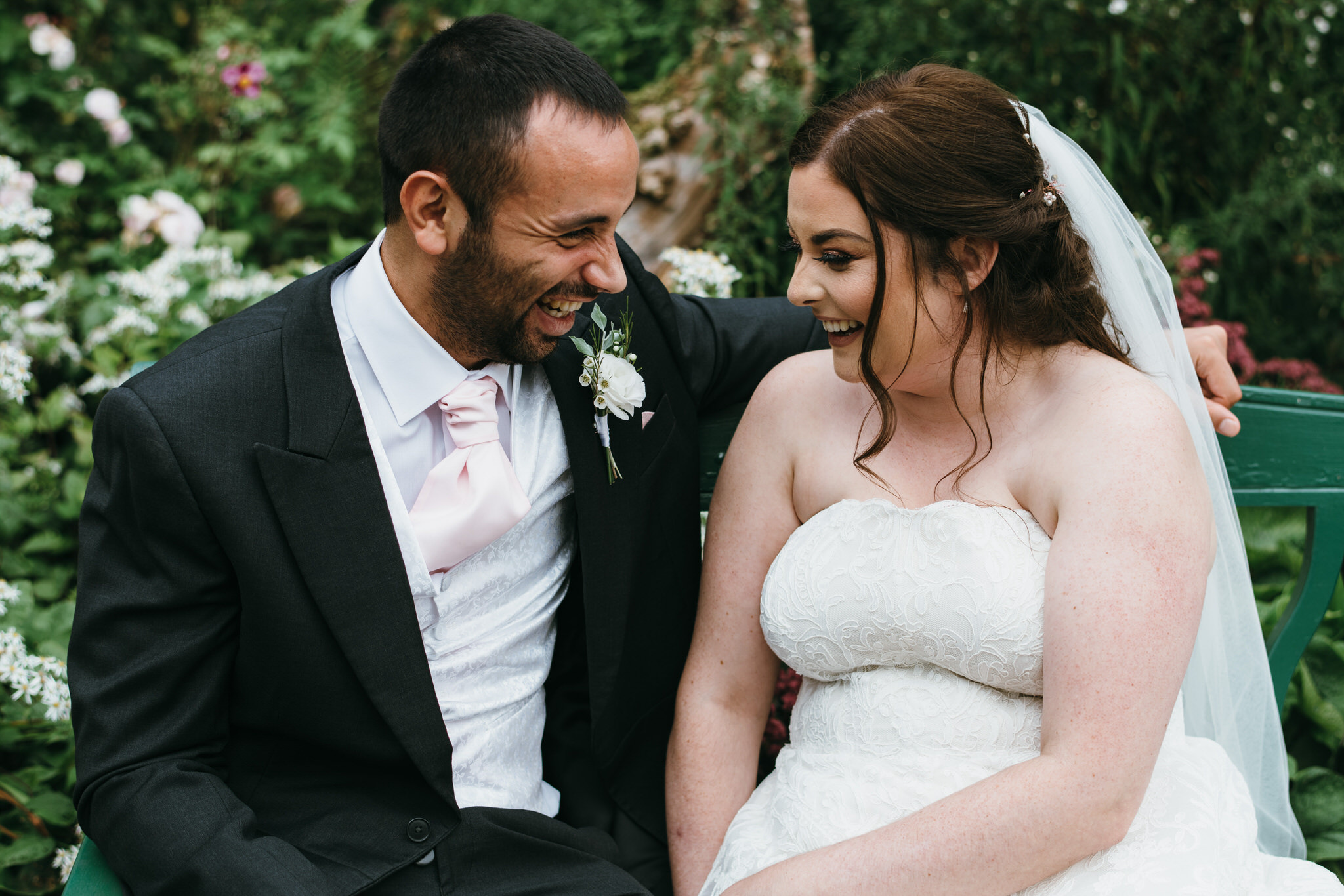 Bride and Groom enjoy a moment in the Bishops palace gardens
